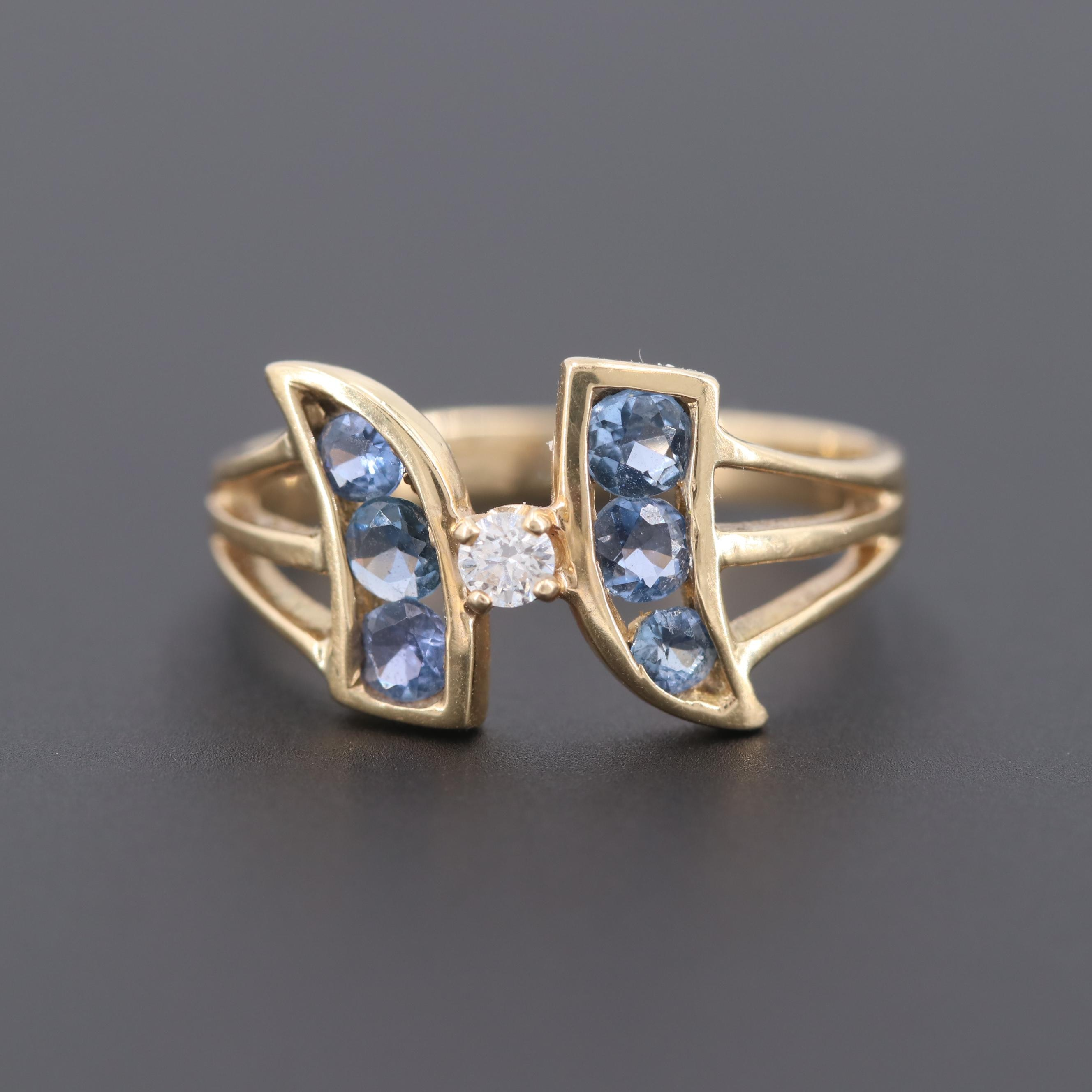 Vintage 14K Yellow Gold Diamond and Sapphire Ring