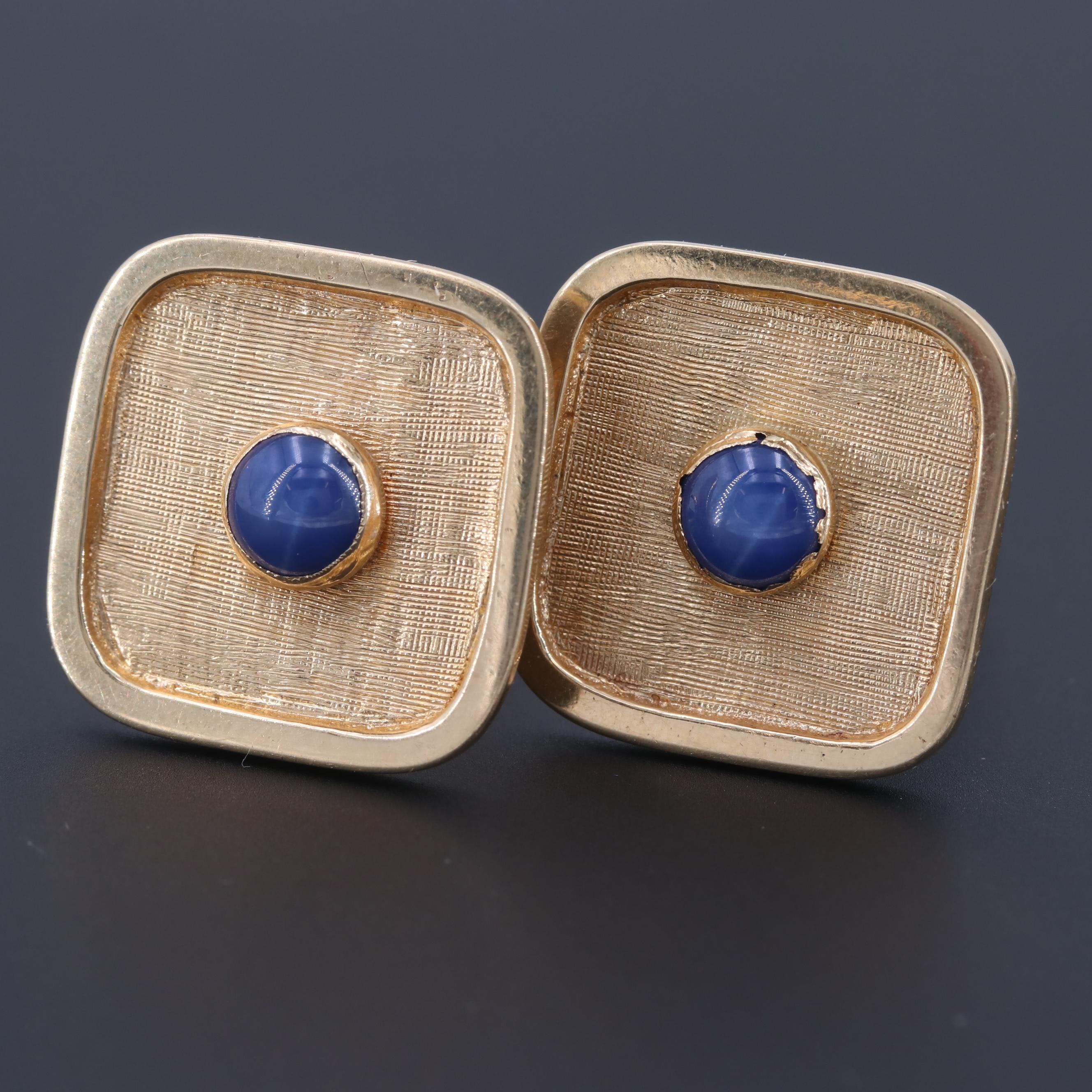 14K Yellow Gold Synthetic Star Sapphire Cufflinks with Florentine Finish