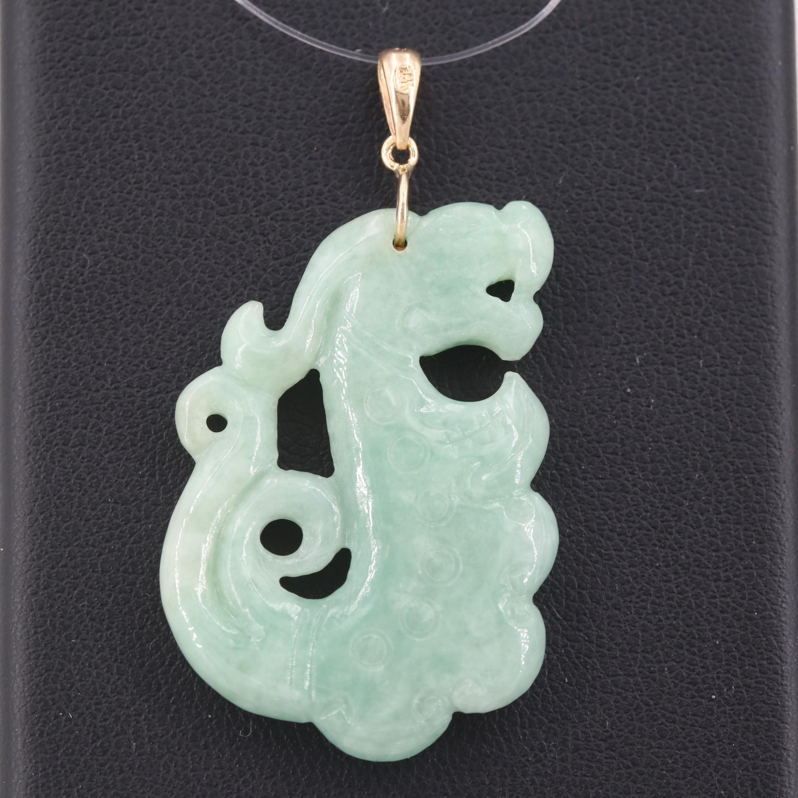 Carved Jadeite Dragon Pendant with 14K Yellow Gold