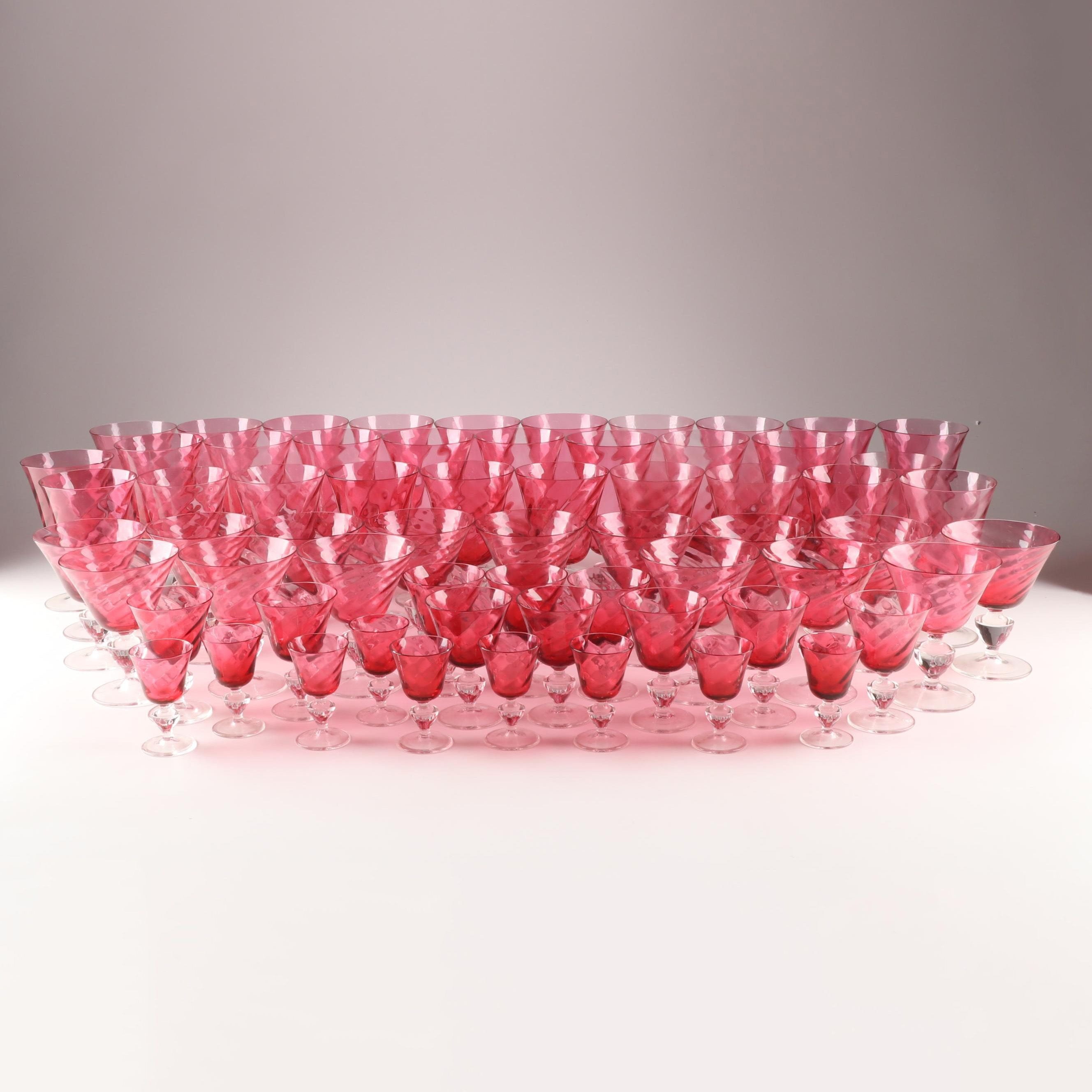 Cranberry Optic Swirl Crystal Stemware