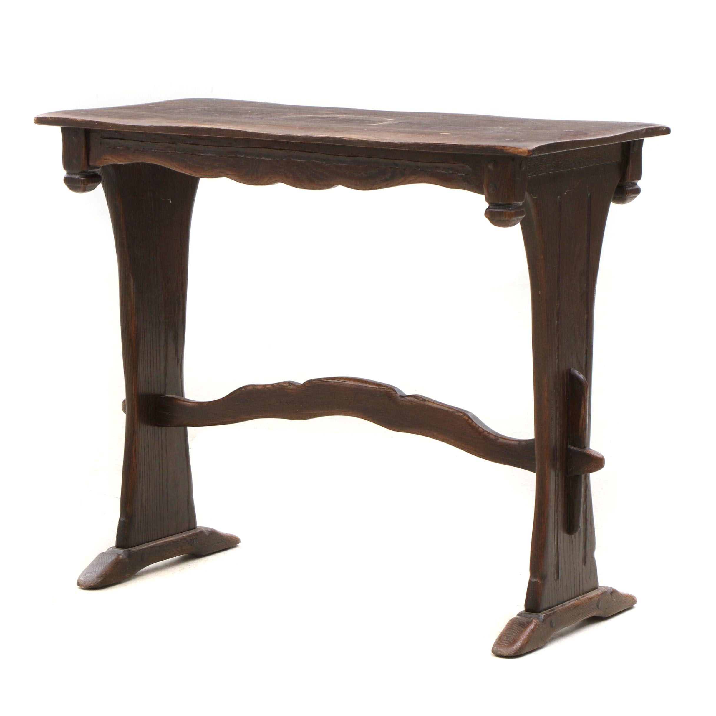 Oak Trestle Accent Table, Early 20th Century
