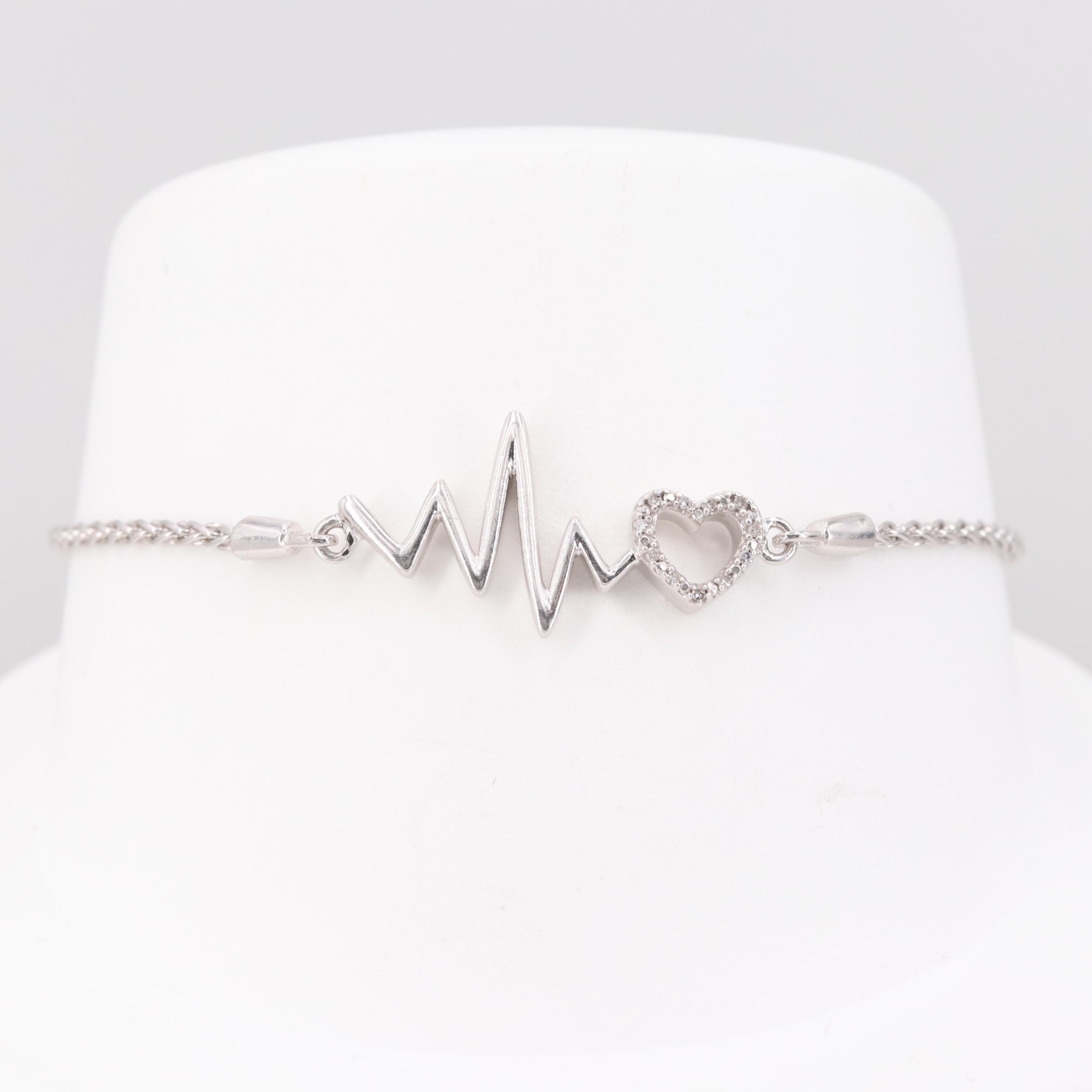 "Sterling Silver Diamond ""Heart Rhythm"" Bracelet"