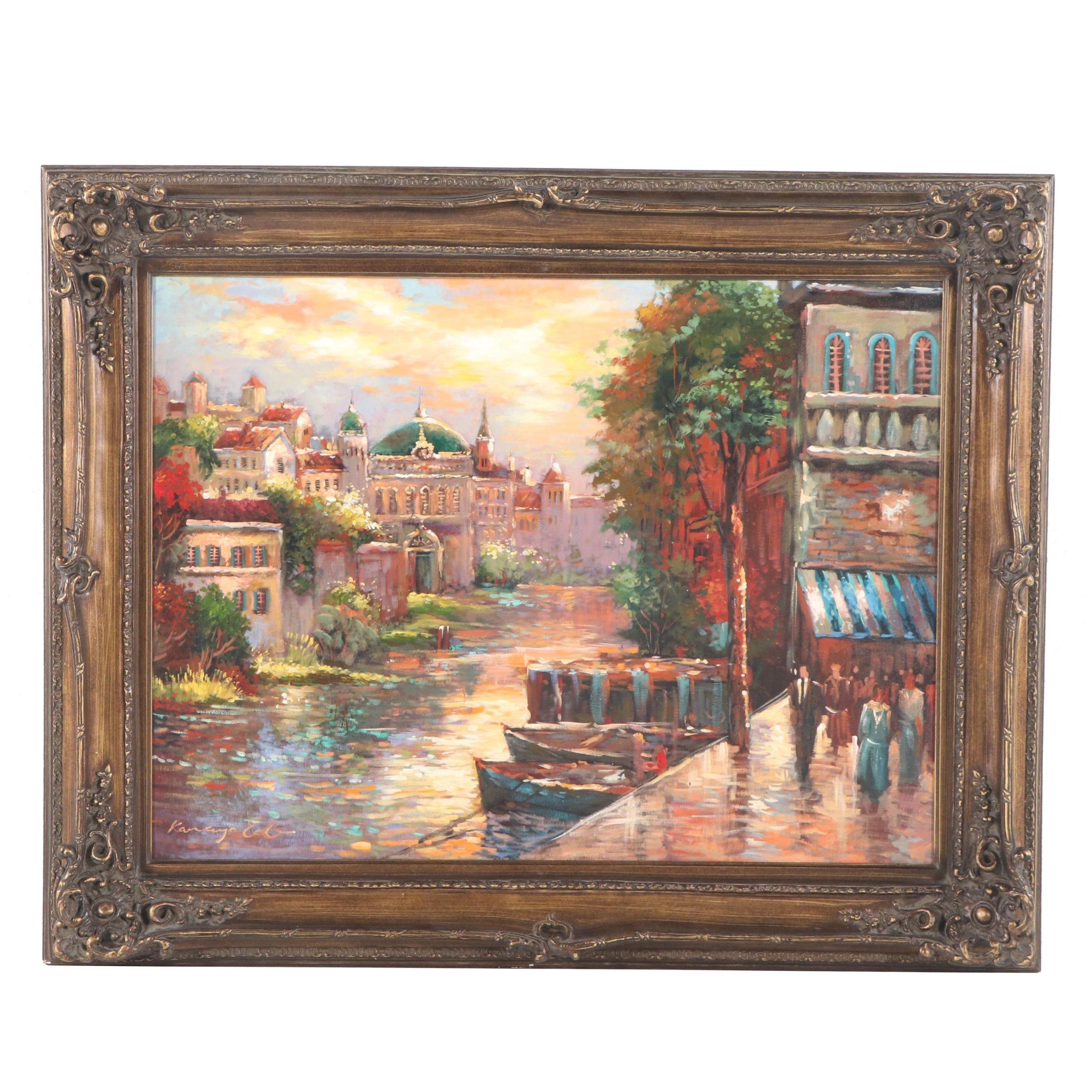 Embellished Giclée of a Canal Landscape