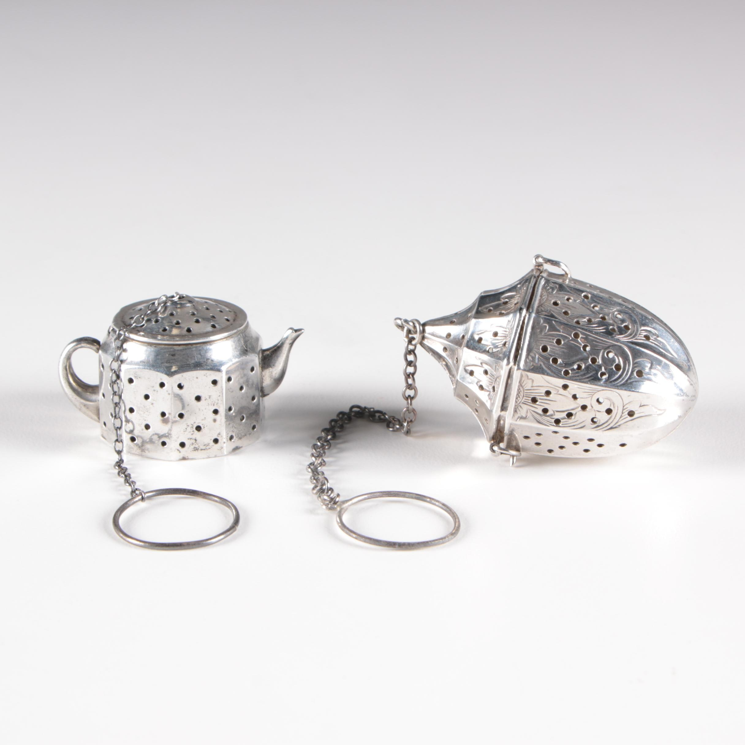 American Sterling Silver Tea Infusers, Mid-Century/c.1940s