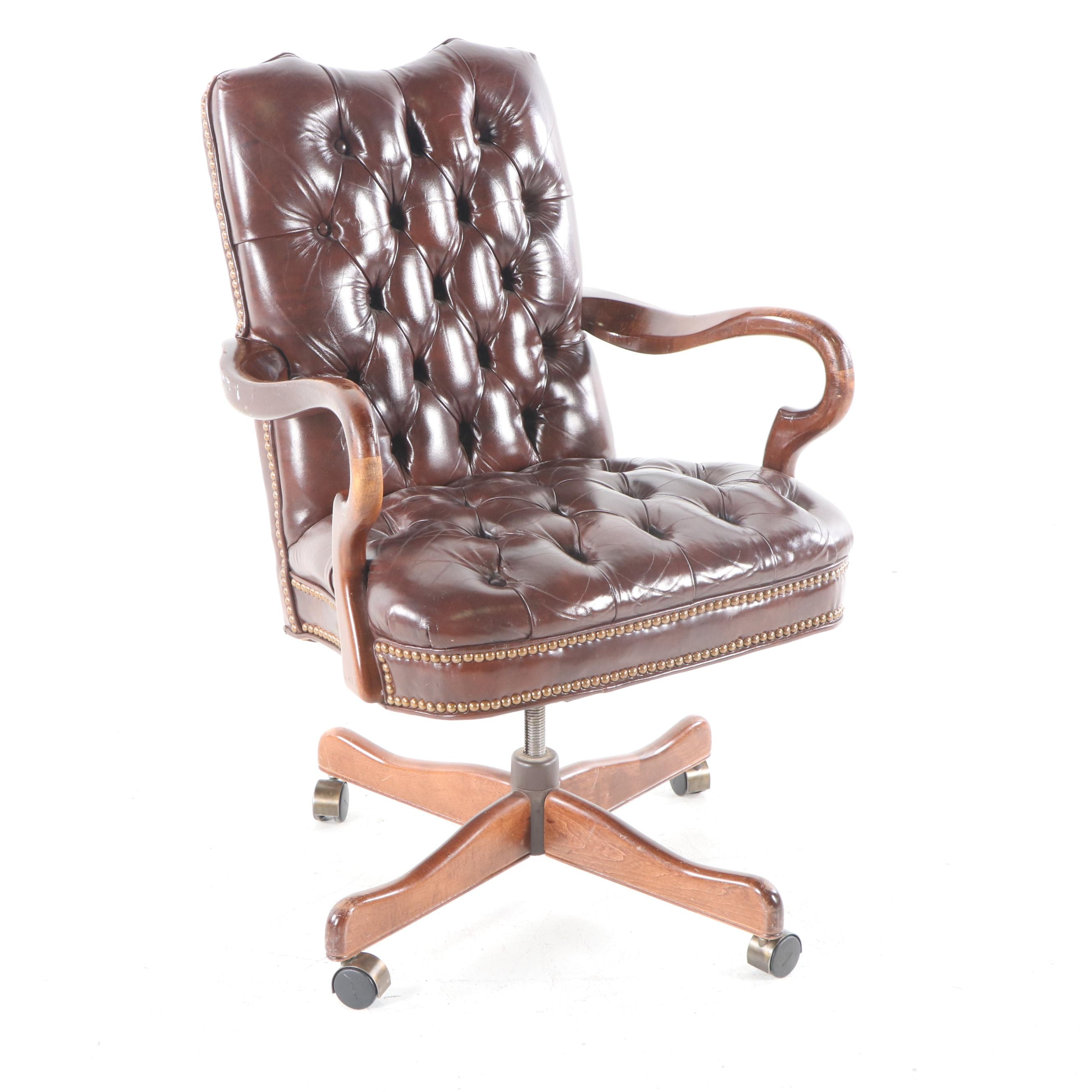 Vintage Leather Executive Desk Chair, 20th Century