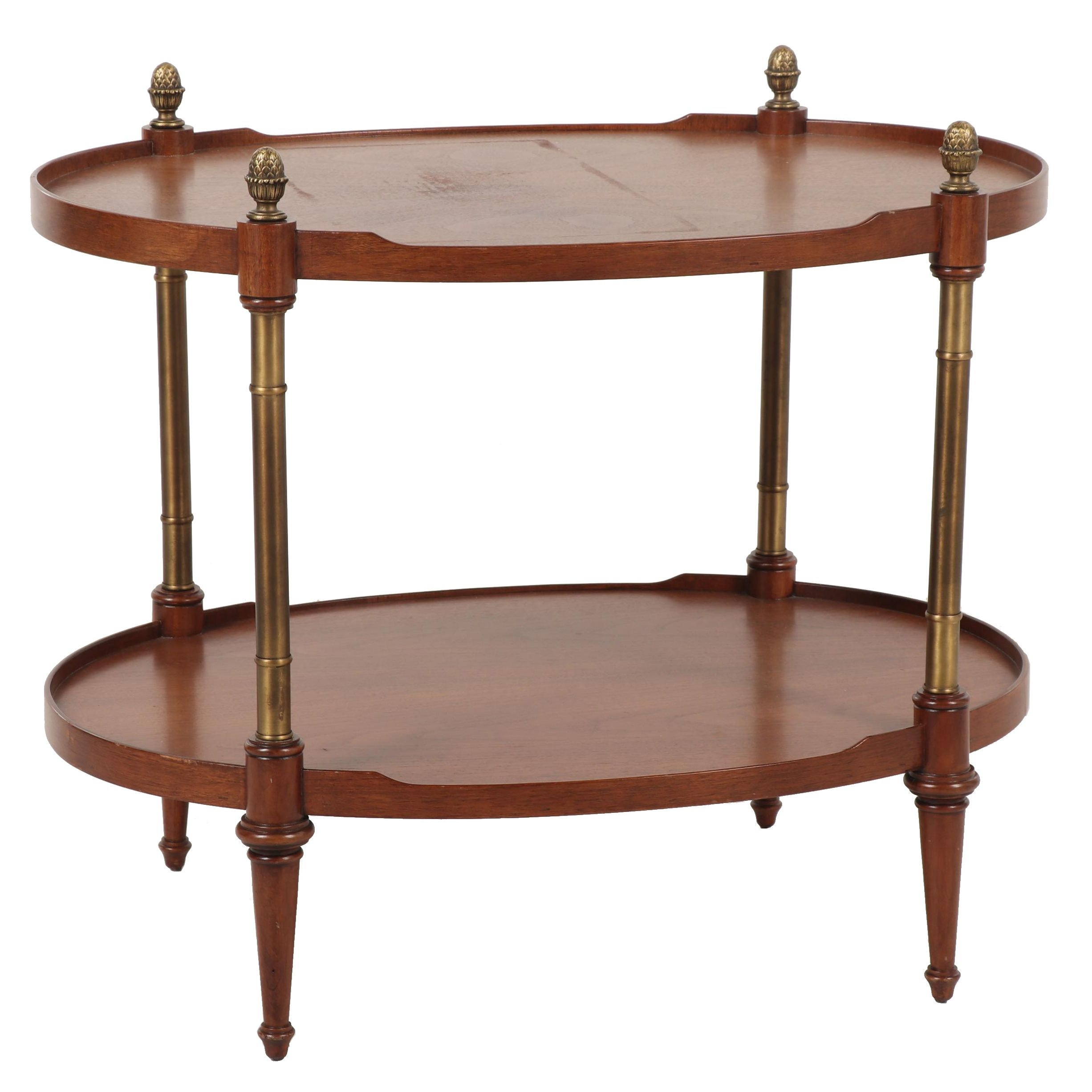 Baker Furniture Mahogany and Brass Two-Tiered Side Table, Mid to Late 20th c.