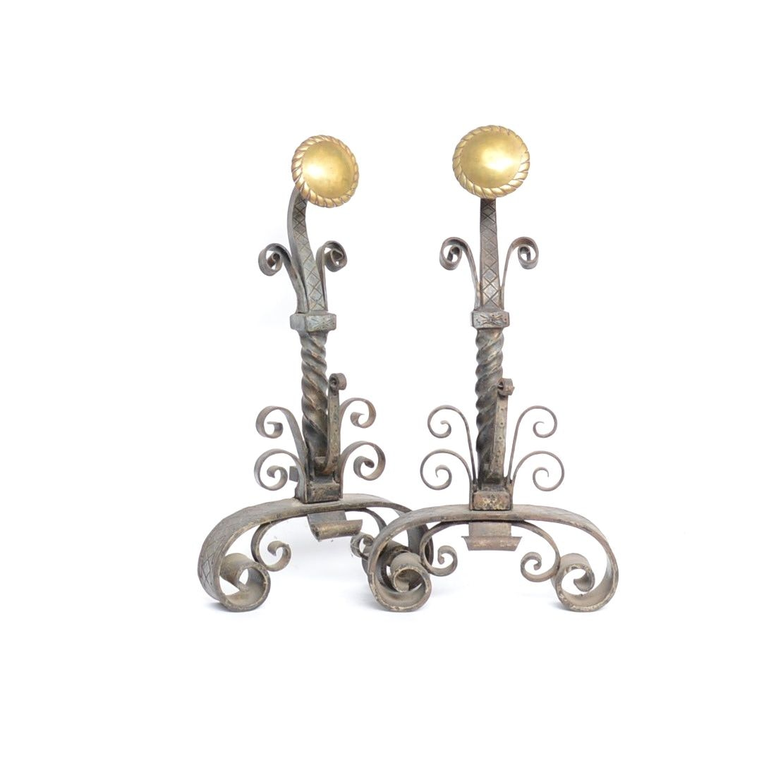 Cast Iron and Brass Andirons