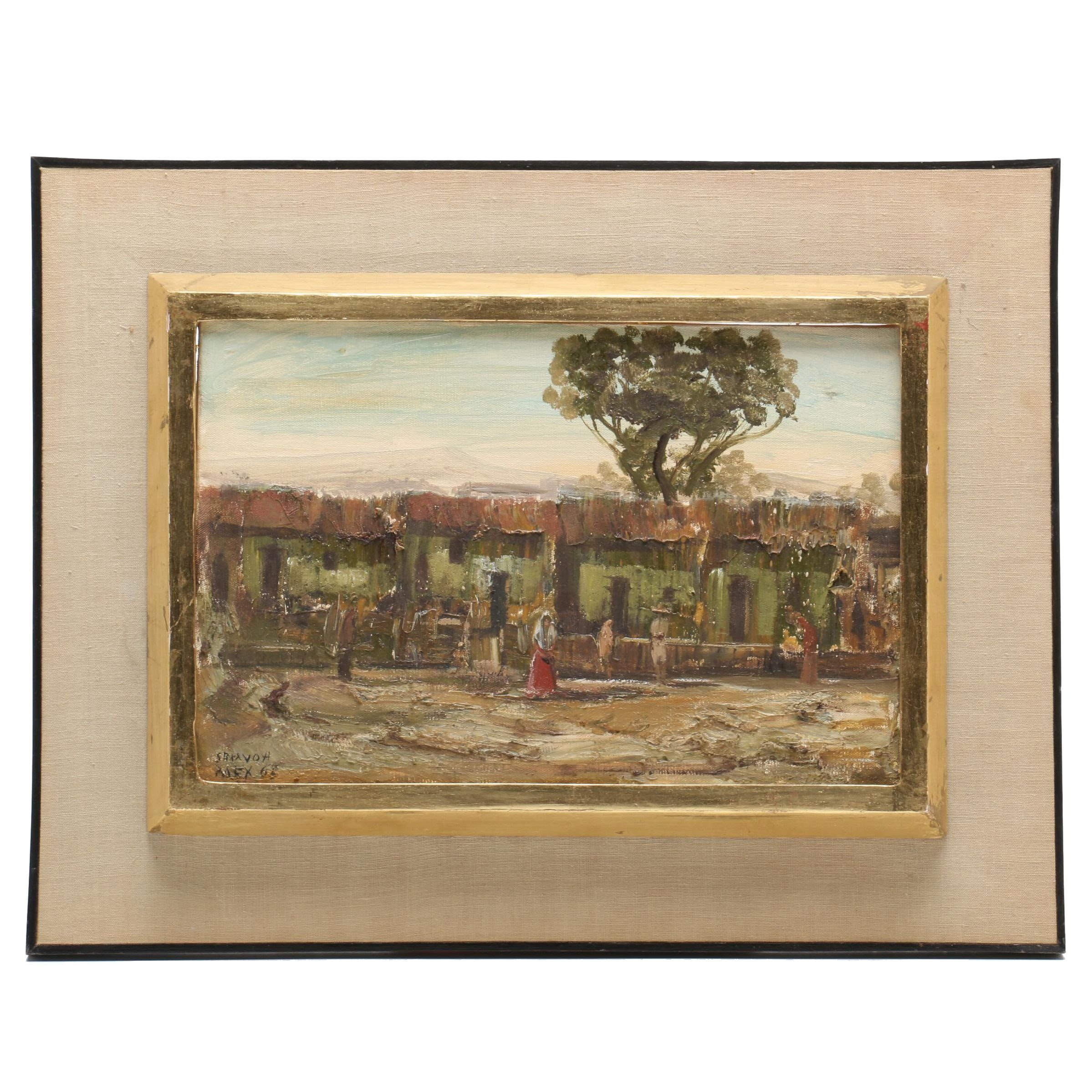 Sergio Bravo Hidalgo Oil Painting of Figures in Courtyard