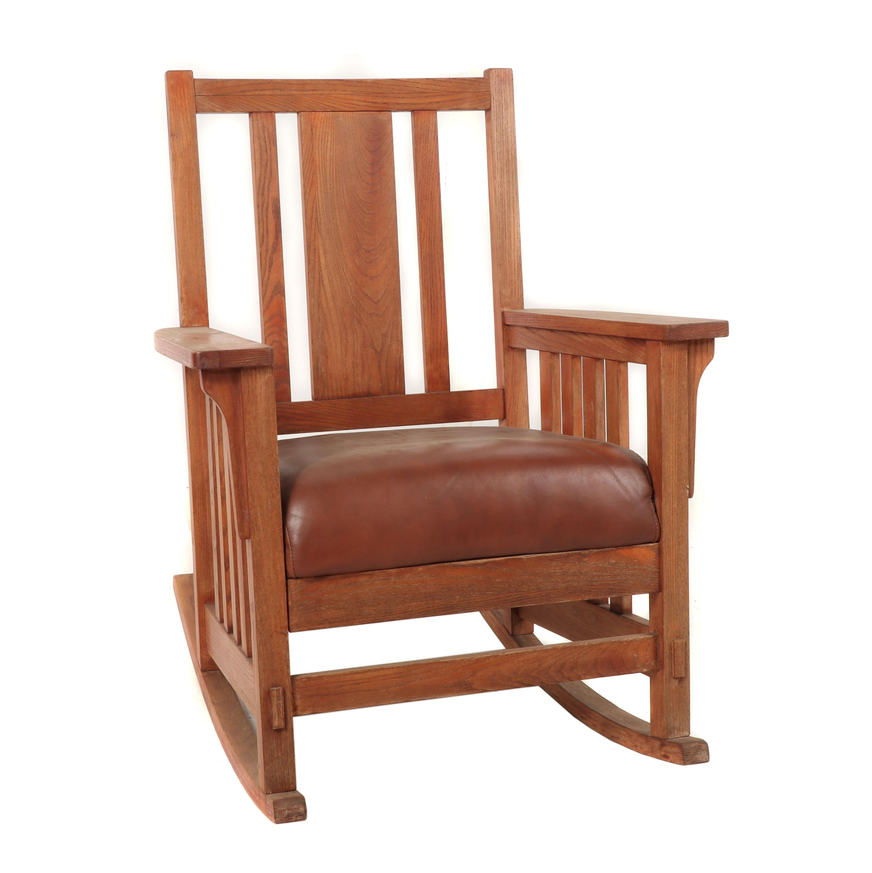 Arts and Crafts Style Oak Rocking Chair with Leather Seat, Late 20th Century