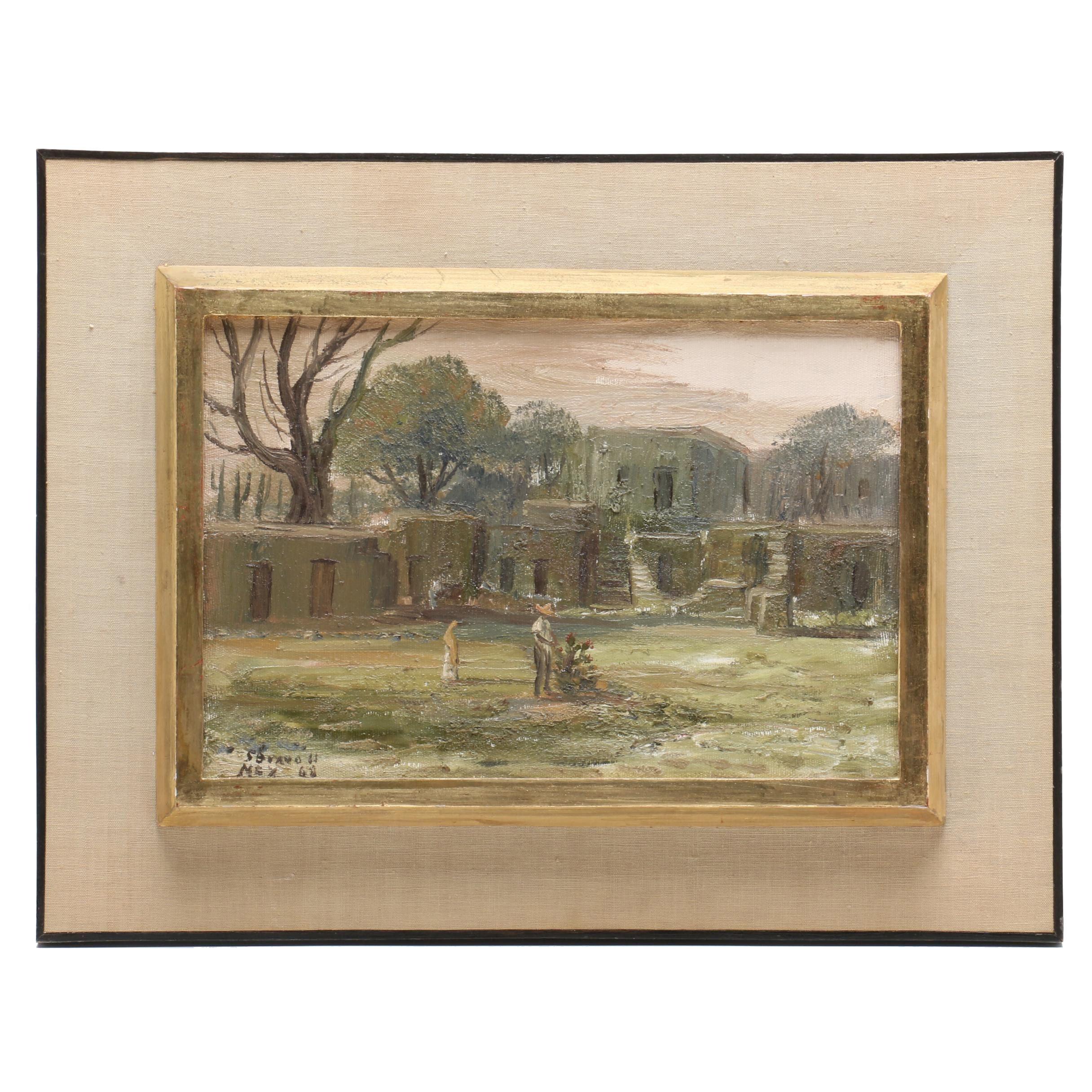 Sergio Bravo Hidalgo Oil Painting of Figure in Courtyard