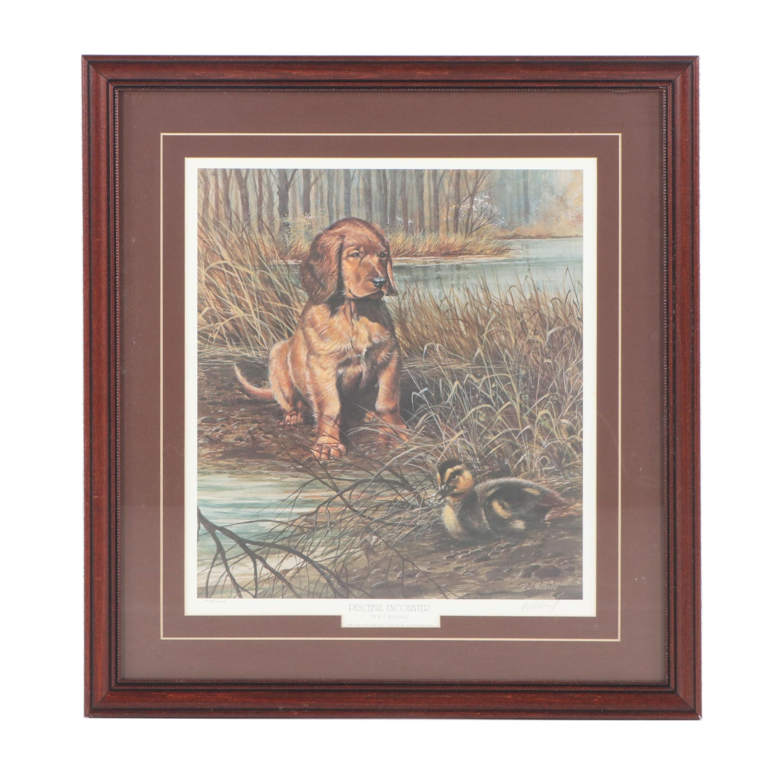 """Ralph J. McDonald Limited Edition Offset Lithograph """"Peaceful Encounter"""""""