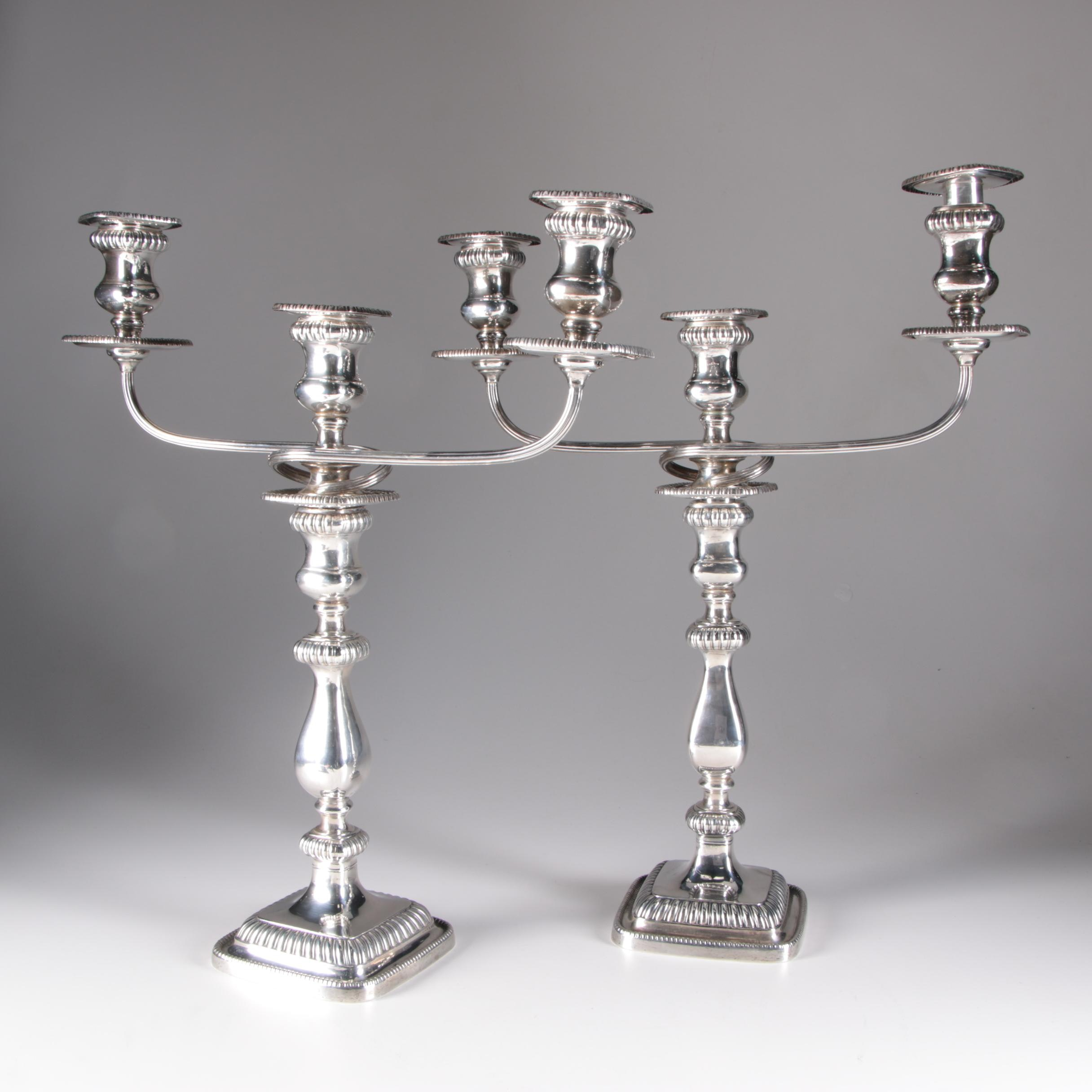 "Gorham Georgian Style ""English Reproduction"" Sterling Silver Candelabra, 1947"