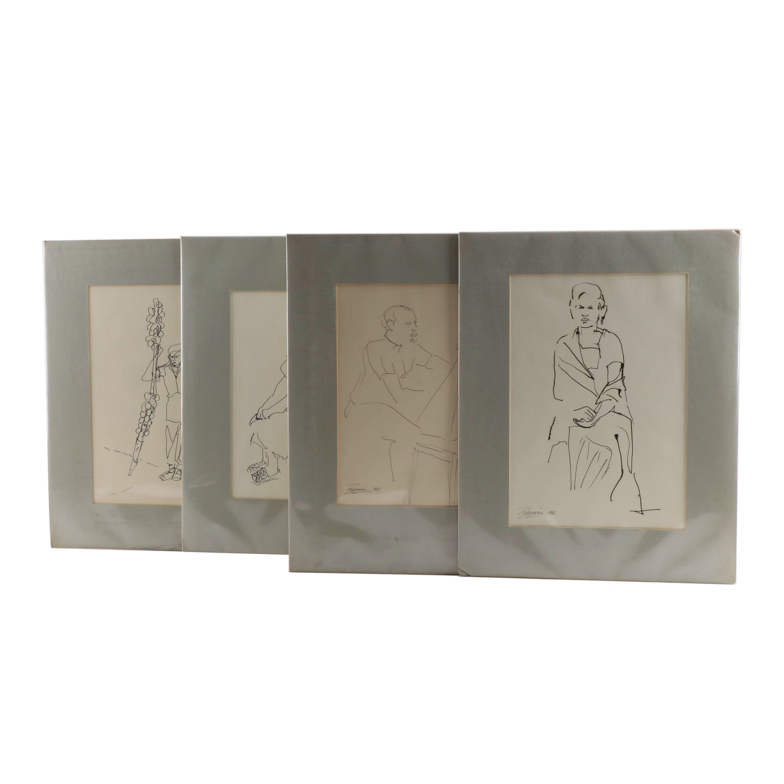 Richard Rosmarin Figural Drawings, 1960s