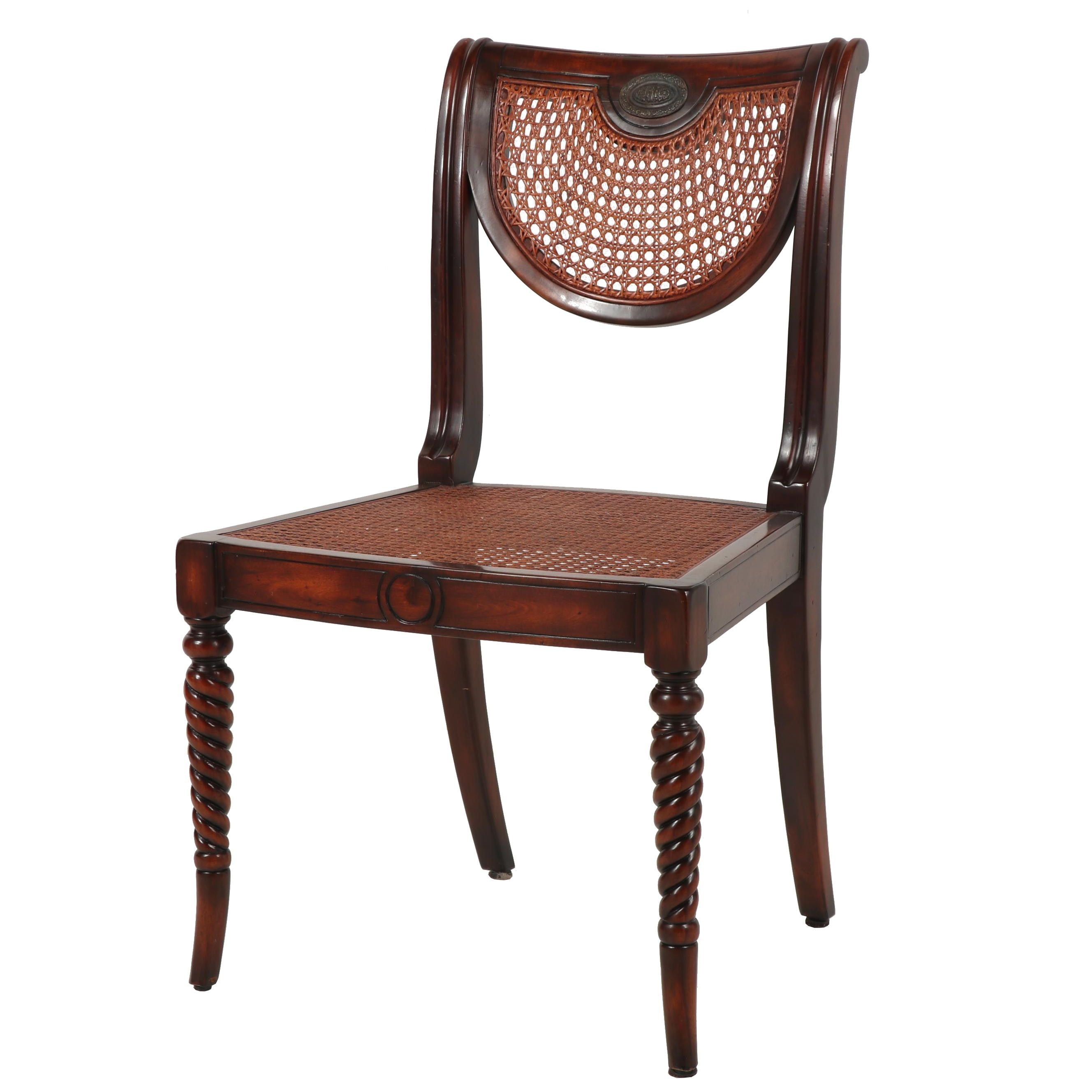 Contemporary Mahogany Caned Side Chair with Heraldry Decoration
