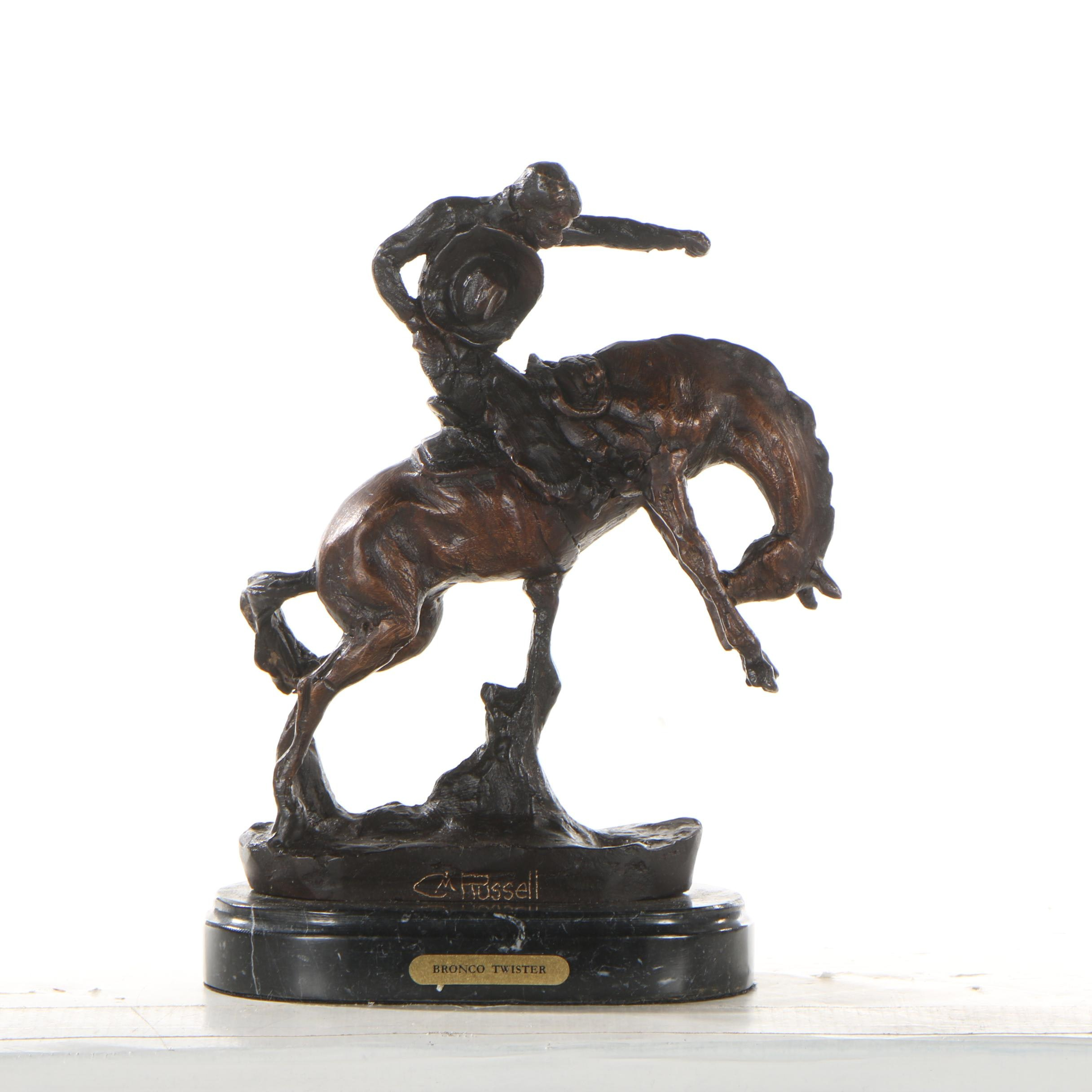 """Reproduction Copper Alloy Sculpture after C.M. Russell """"Bronco Twister"""""""