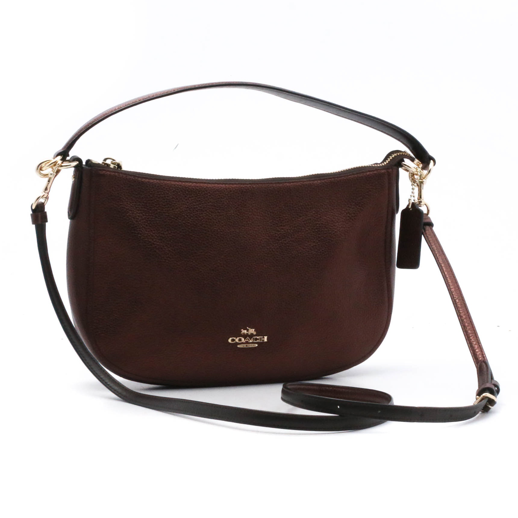 Coach Brown Pebbled Faux Leather Handbag