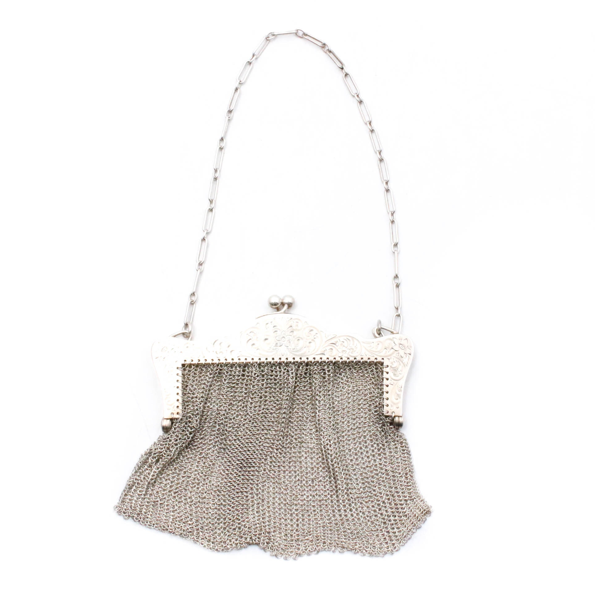 Sterling Silver Chain Link Mesh Frame Purse, Early 20th Century