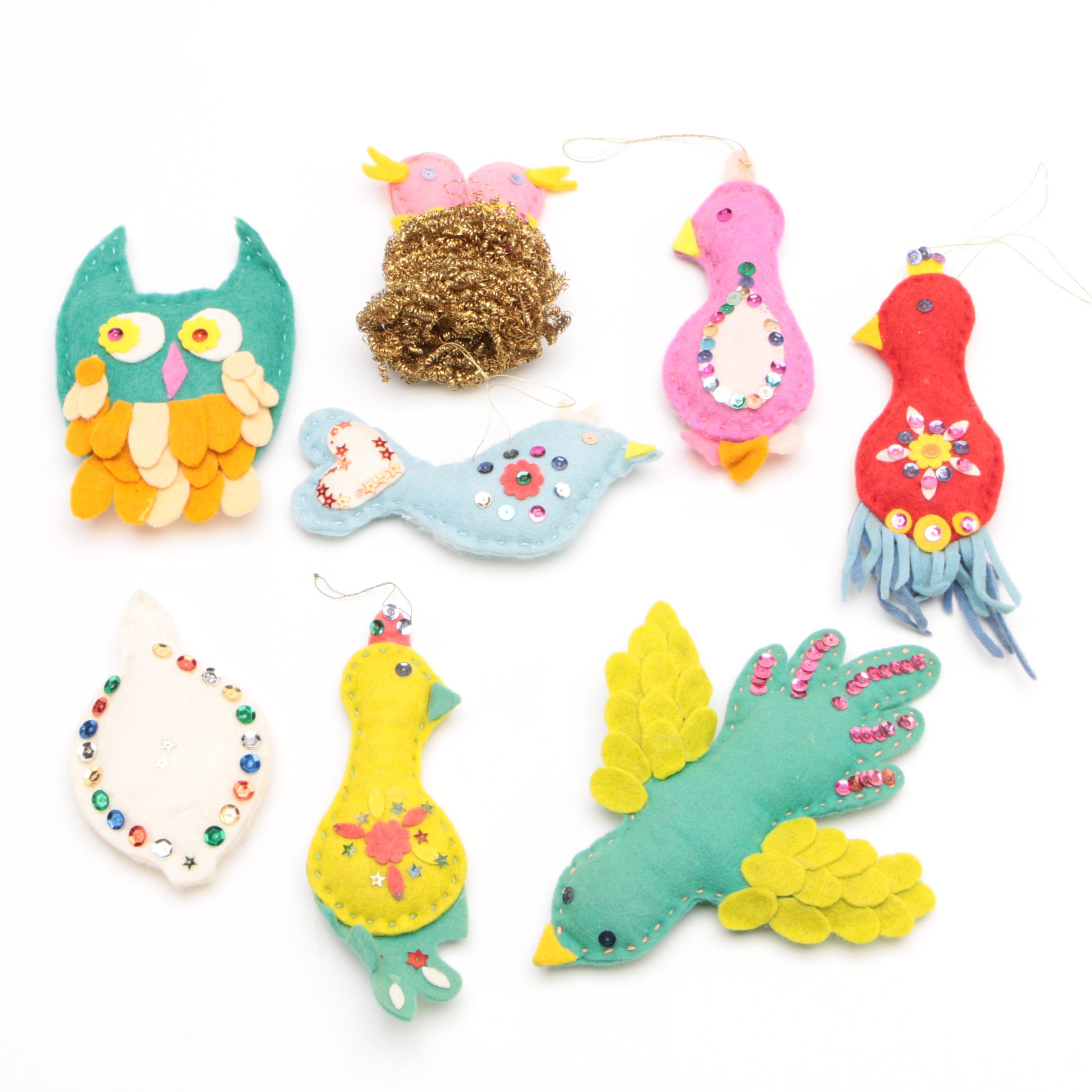 Hand Crafted Felt Bird Ornaments with Sequin Detailing