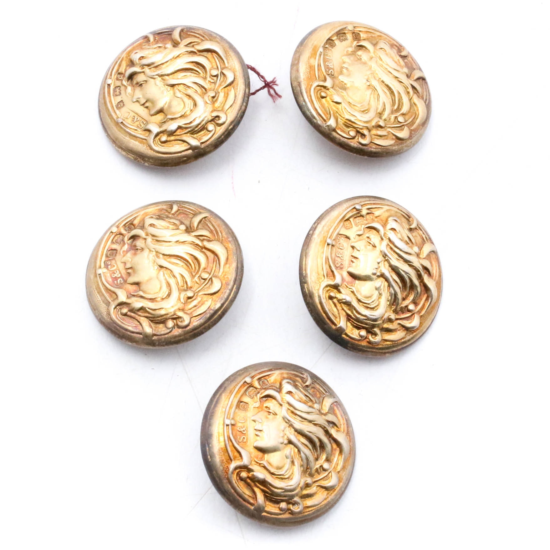 British Sterling Silver and Gold Wash Buttons, Early 20th Century