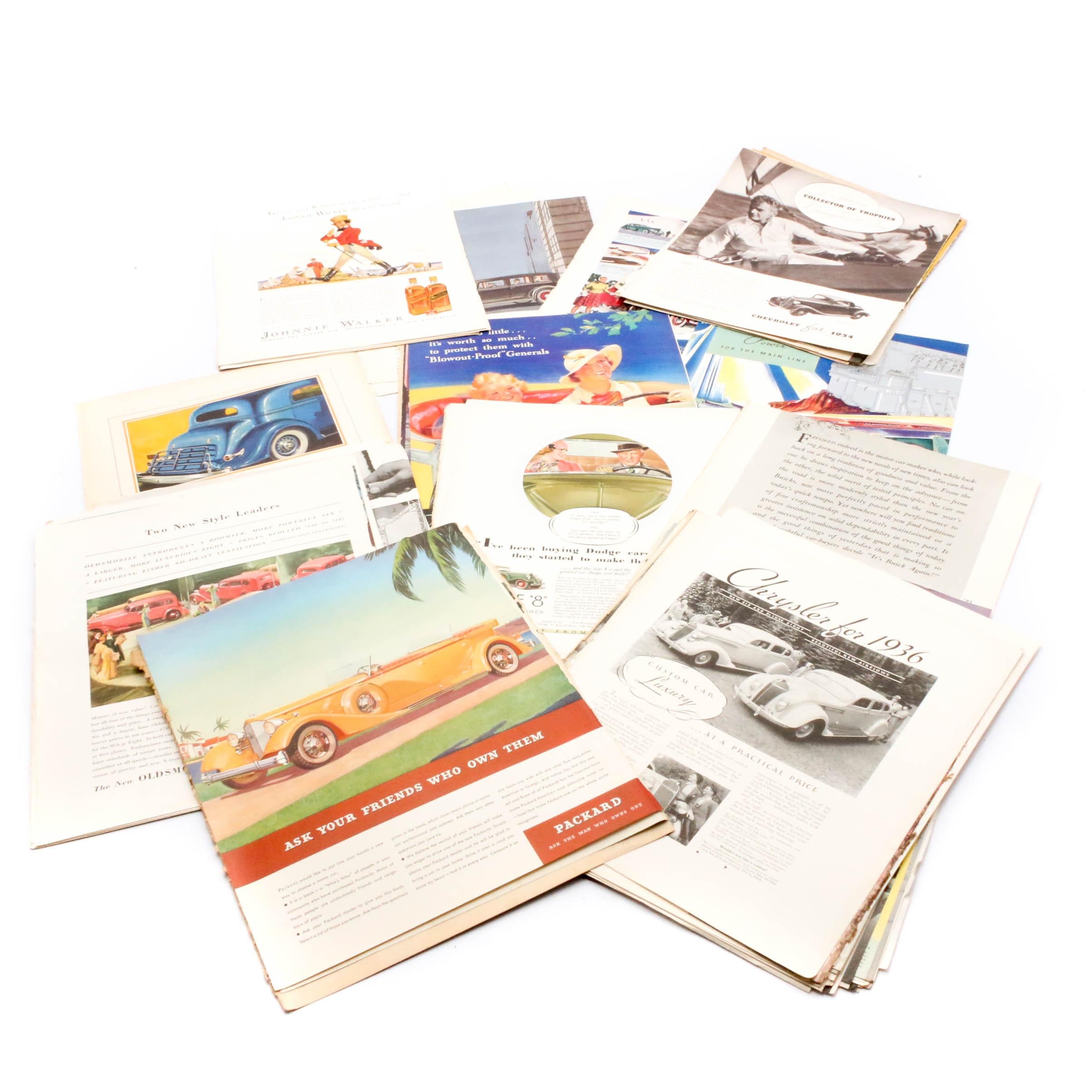 1930s-1950s Automobile Magazine Advertisements