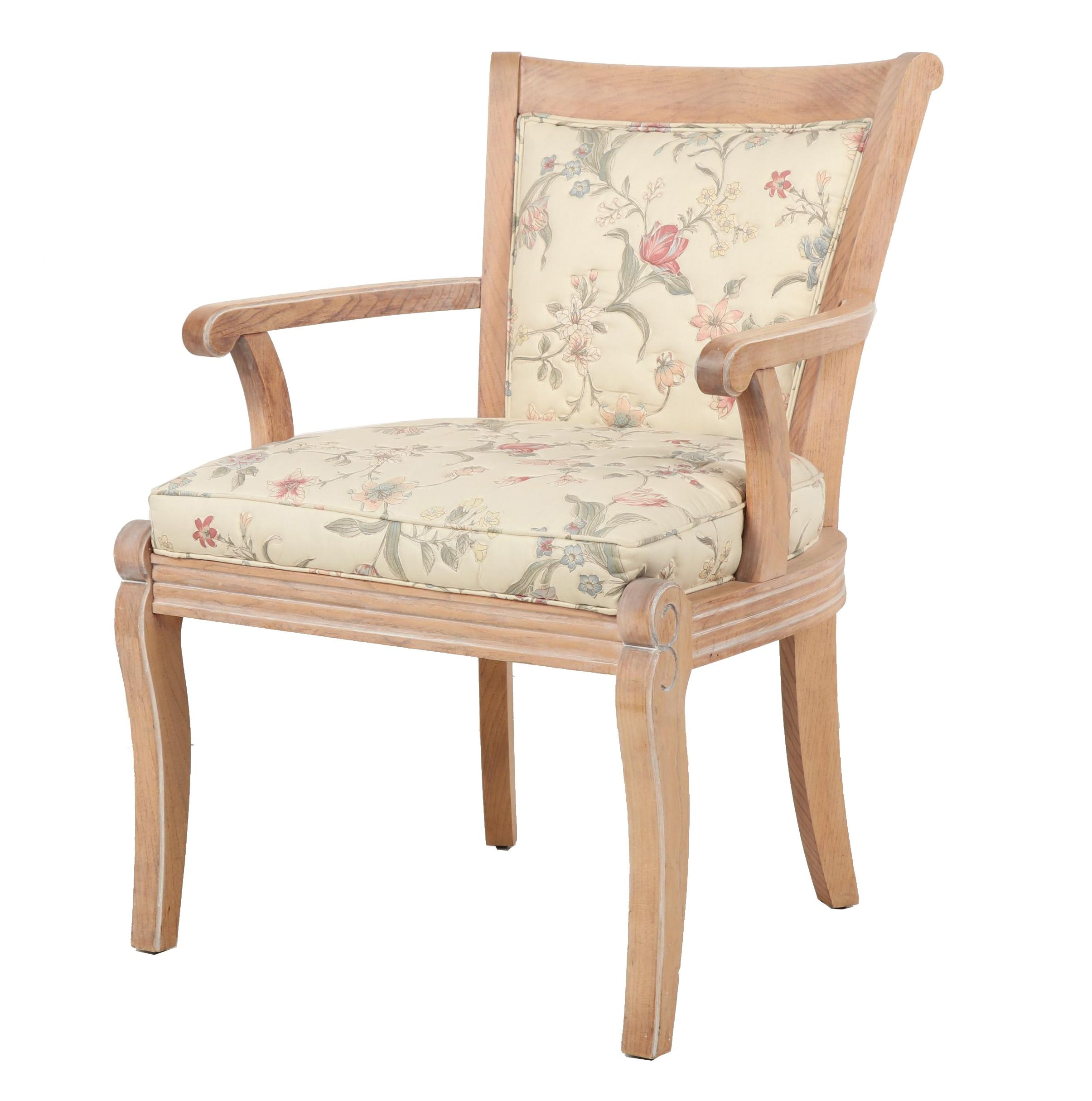 Contemporary Wooden Armchair with Floral Upholstery
