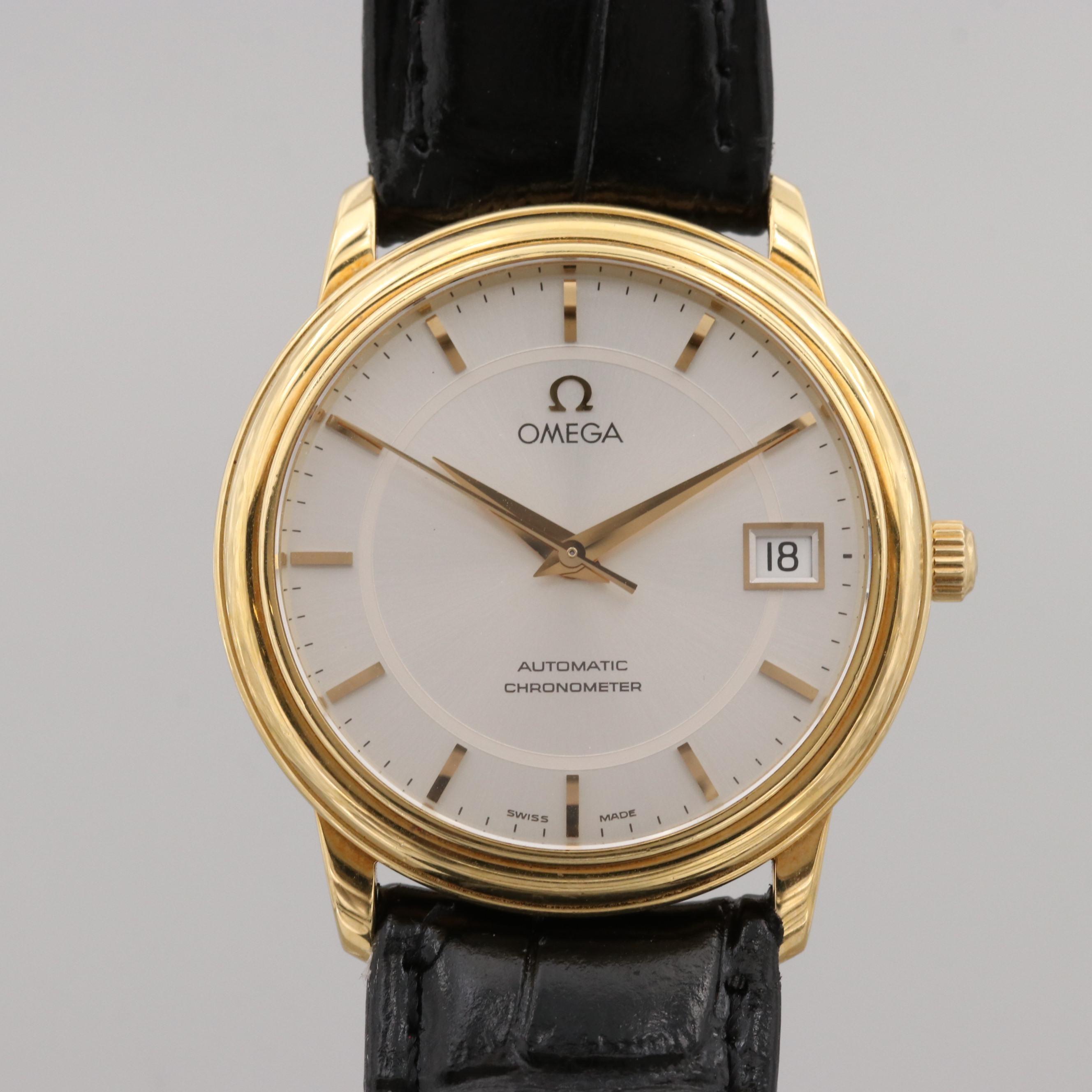 Omega De Ville Prestige 18K Yellow Gold Chronometer Wristwatch With Date Window
