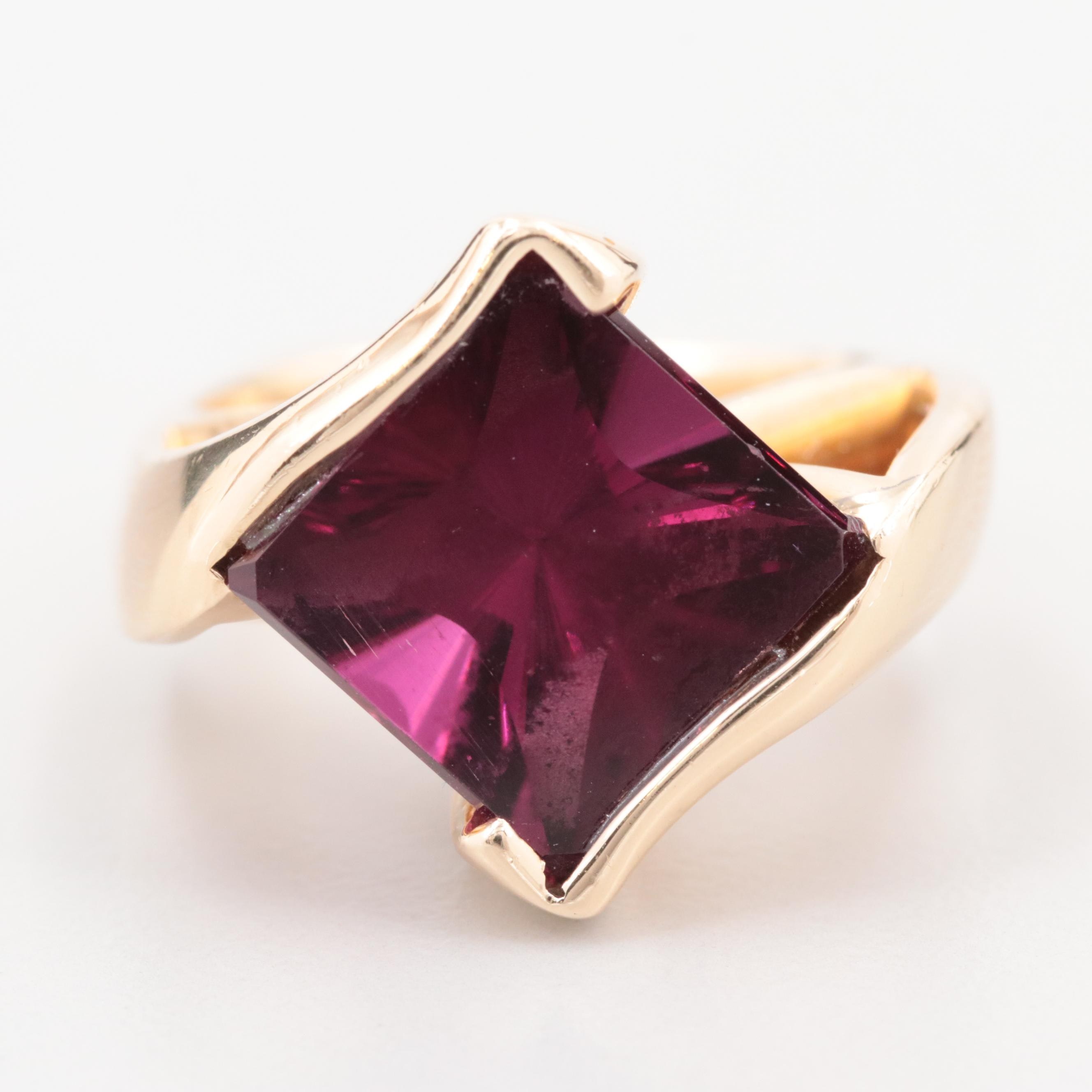 14K Yellow Gold Rhodolite Ring with Euro Style Shank