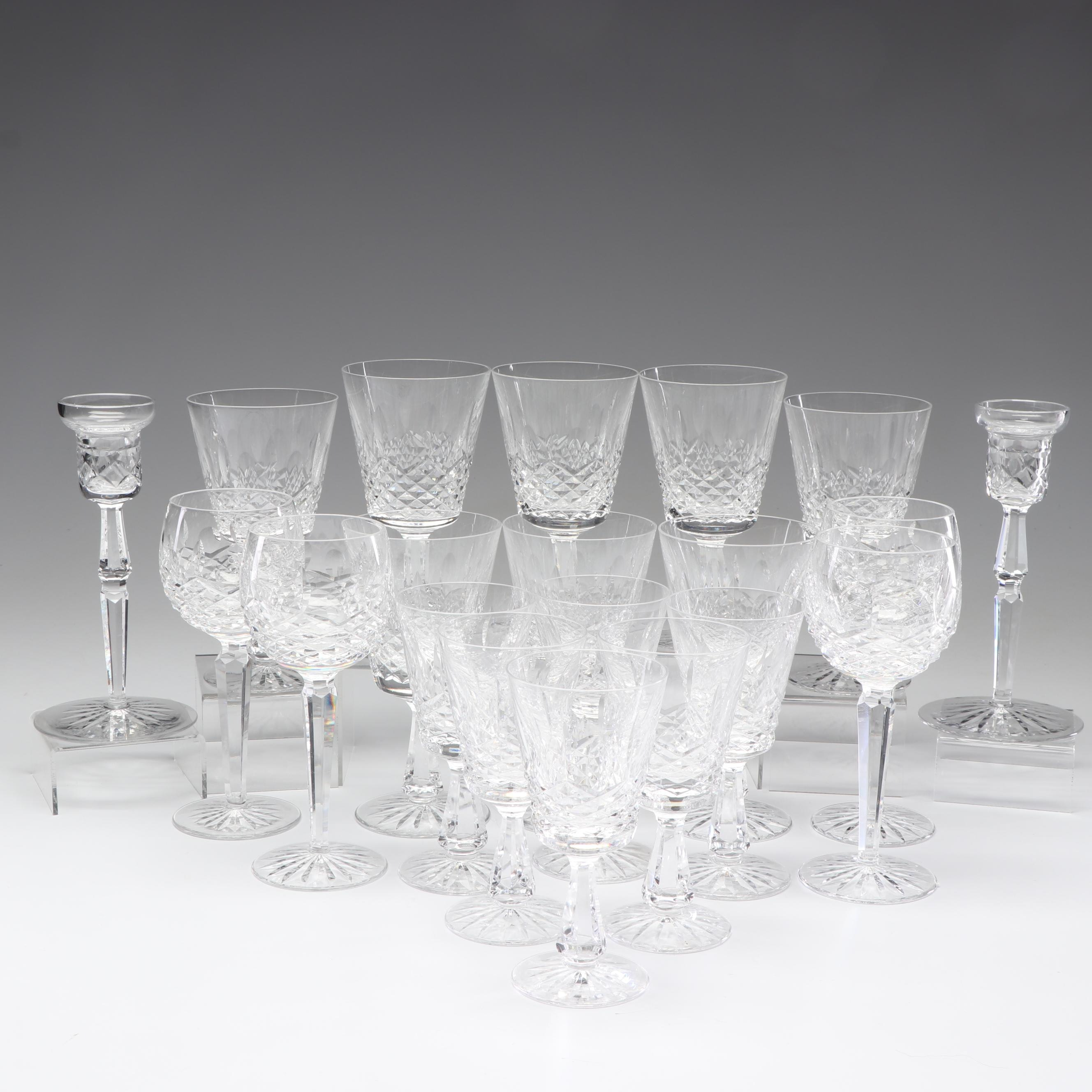 "Waterford ""Kenmare"" Crystal Glasses and Candle Holders"