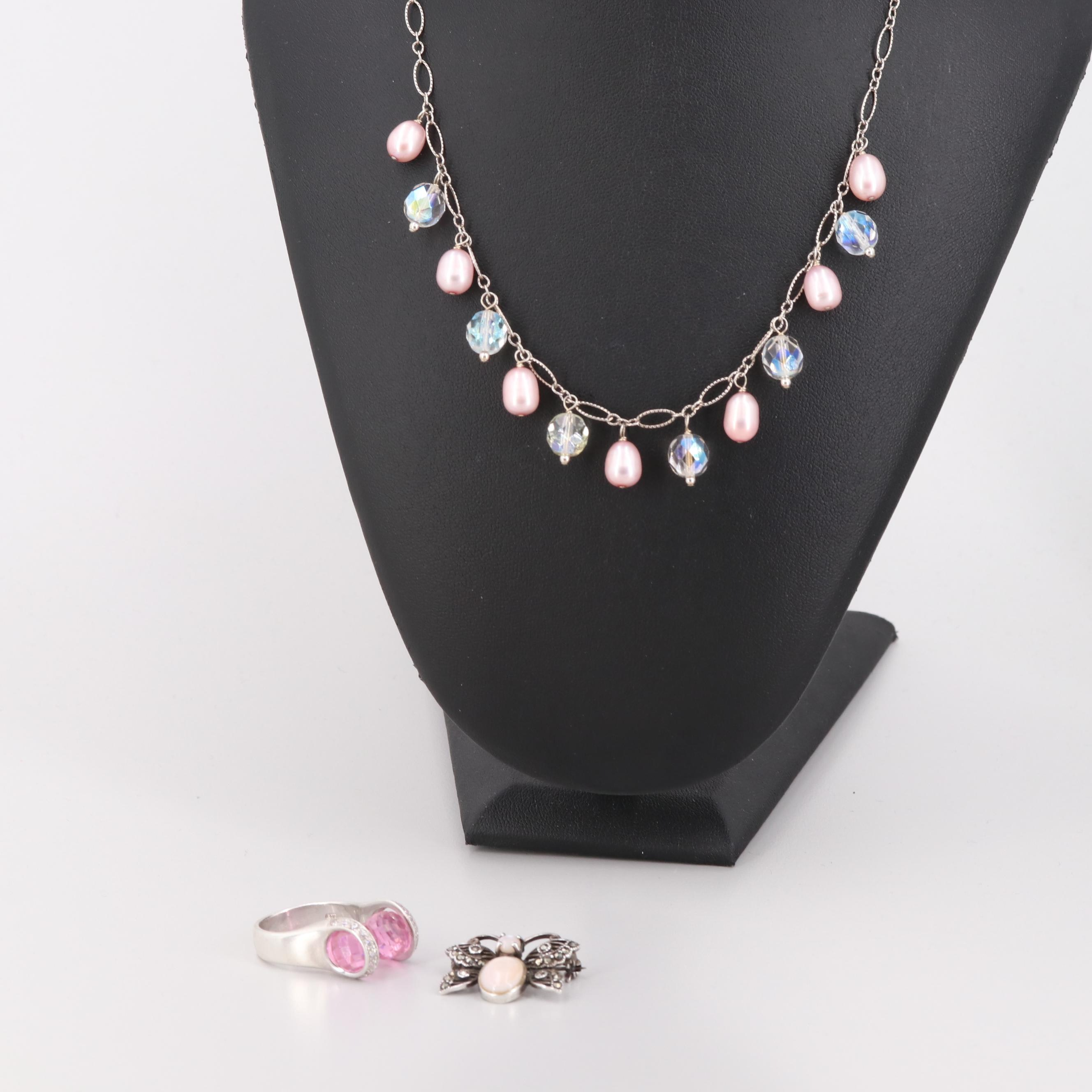 Sterling Silver Jewelry Including Cultured Pearls, Quartz, and Cubic Zirconia