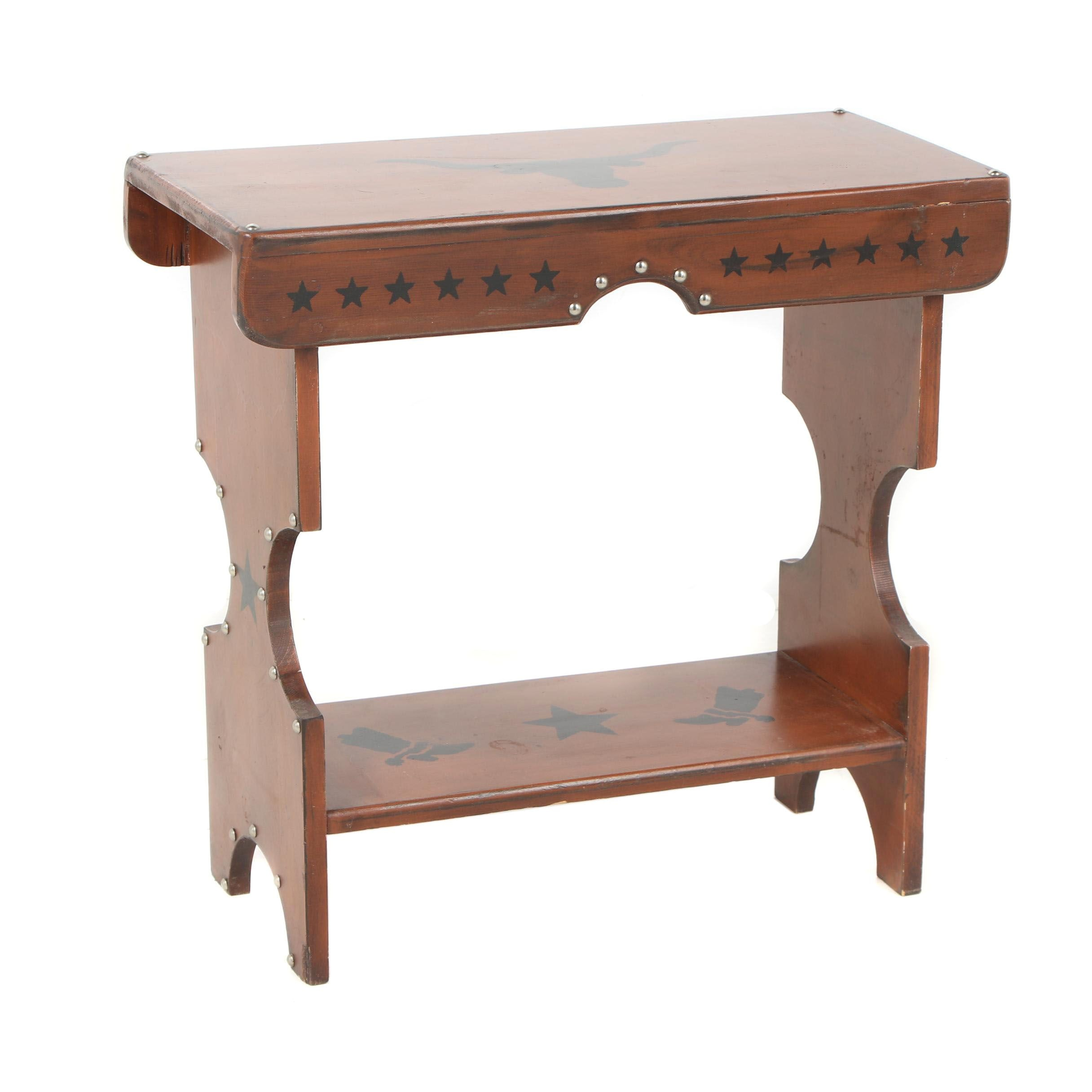 Wooden Table with Painted Western Designs