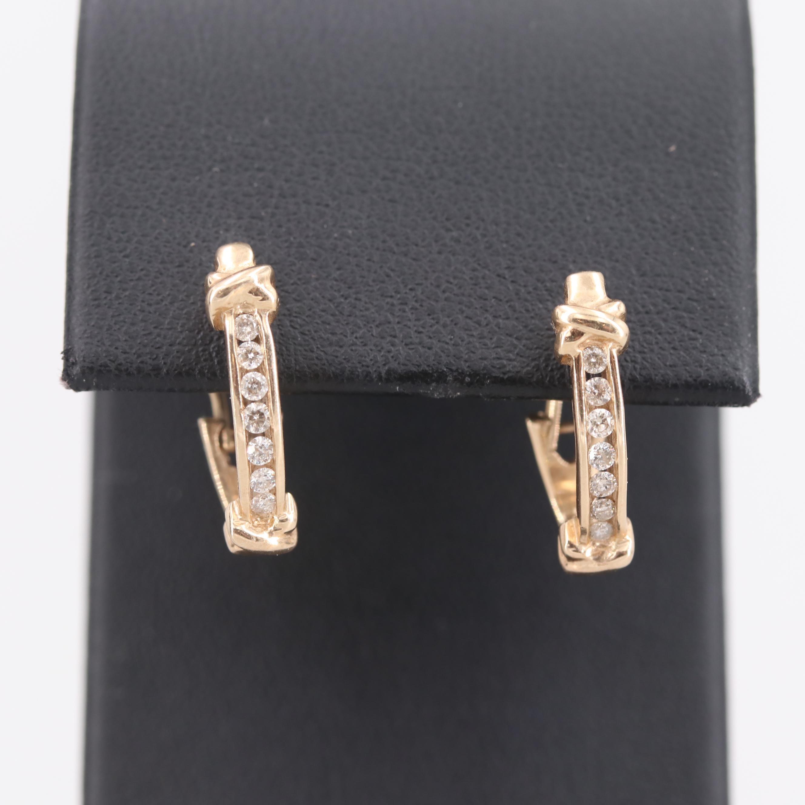 10K Yellow Gold Diamond J Hoop Earrings