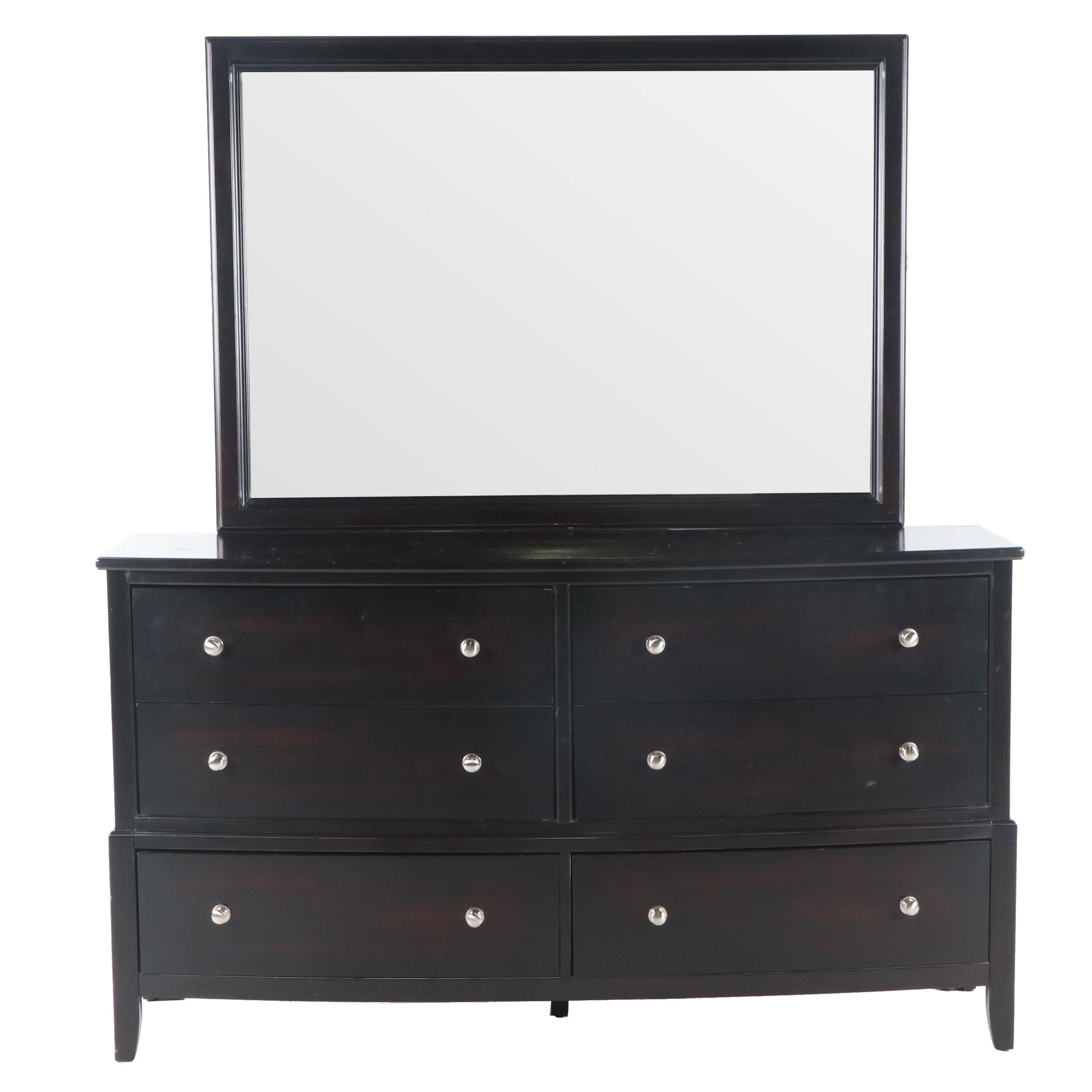Contemporary Lifestyle Furniture Black Finish Bureau and Mirror