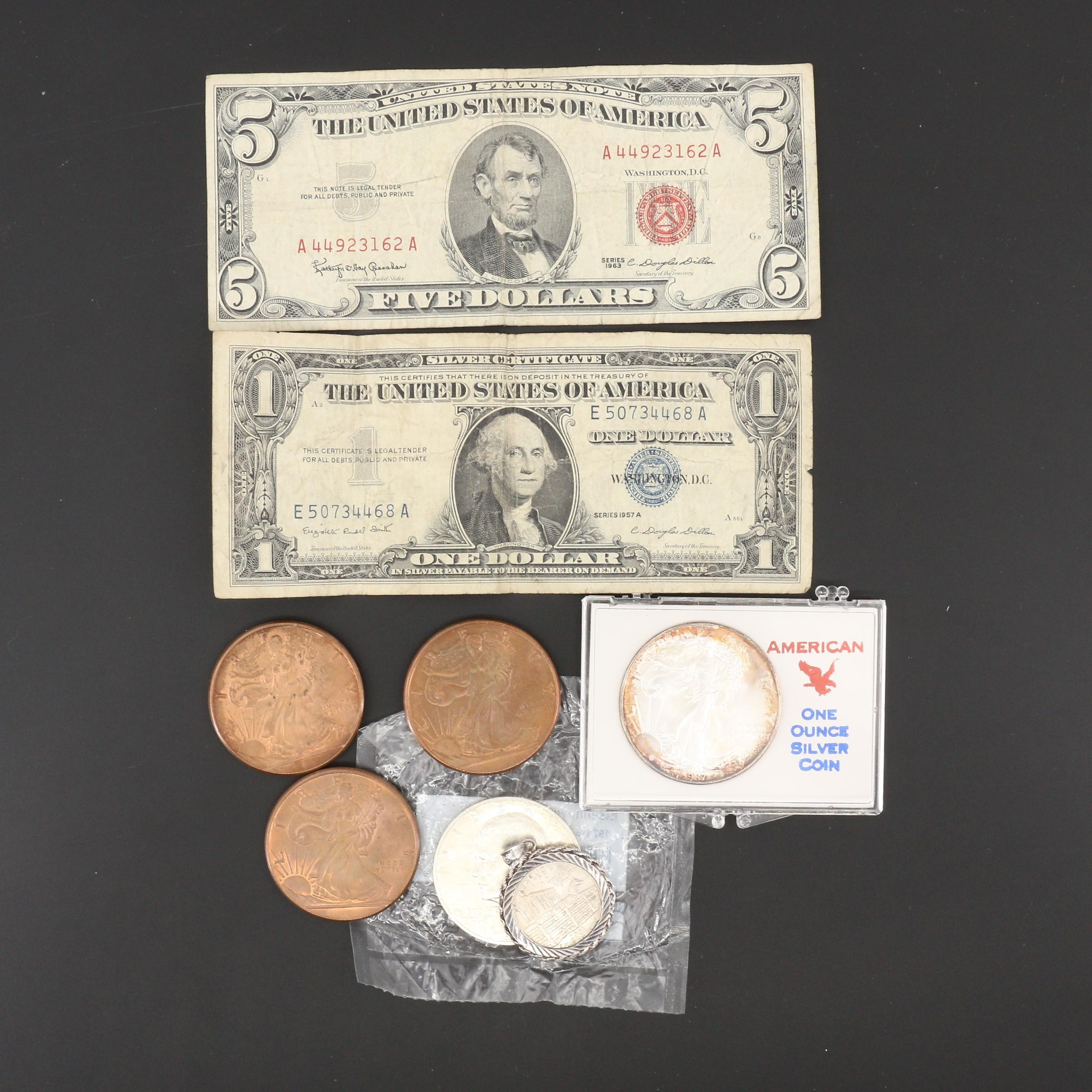 Assortment of U.S. Coins and Currency, Including Silver and Copper