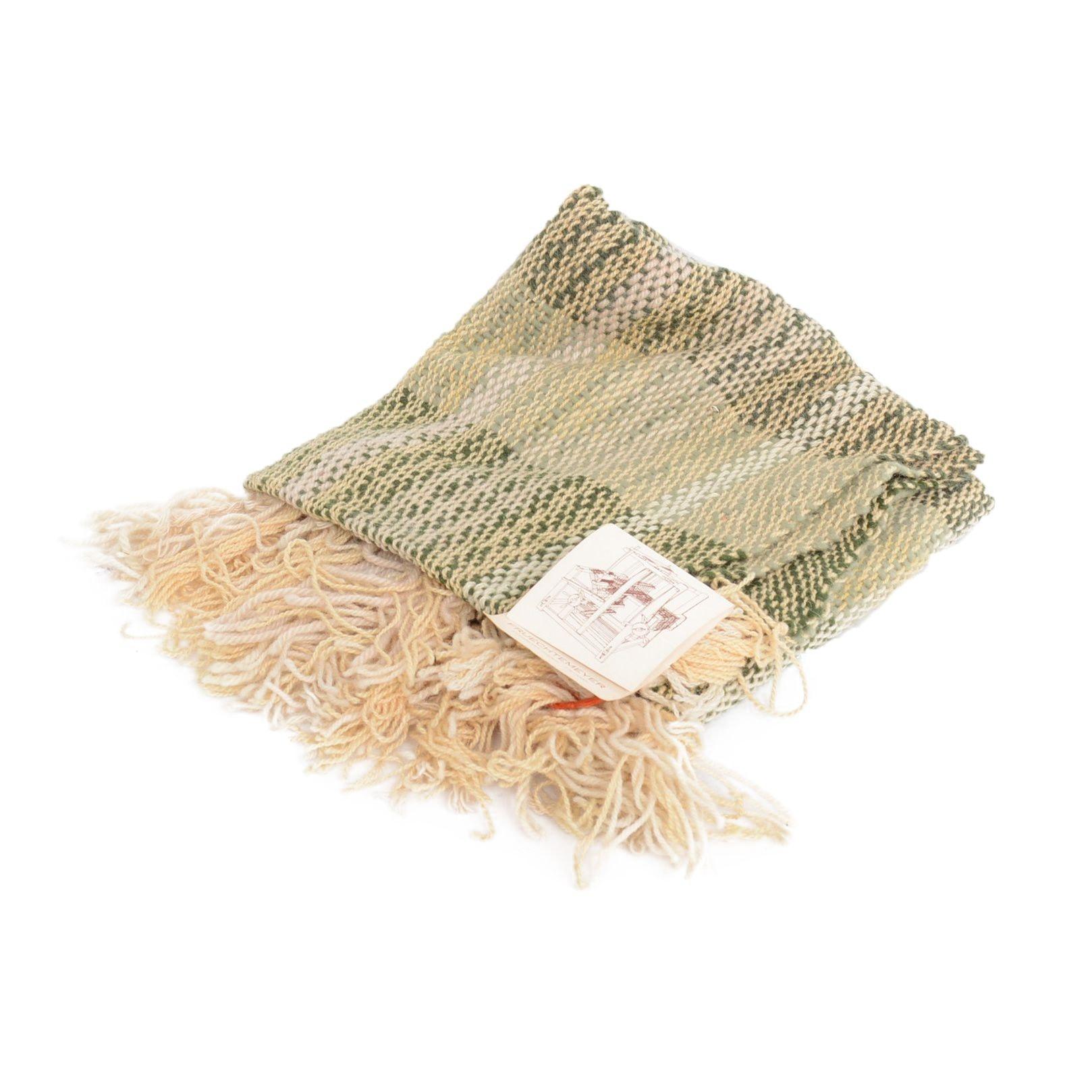 Handwoven Wool Fringed Shawl by Allen W. Fruechtemeyer