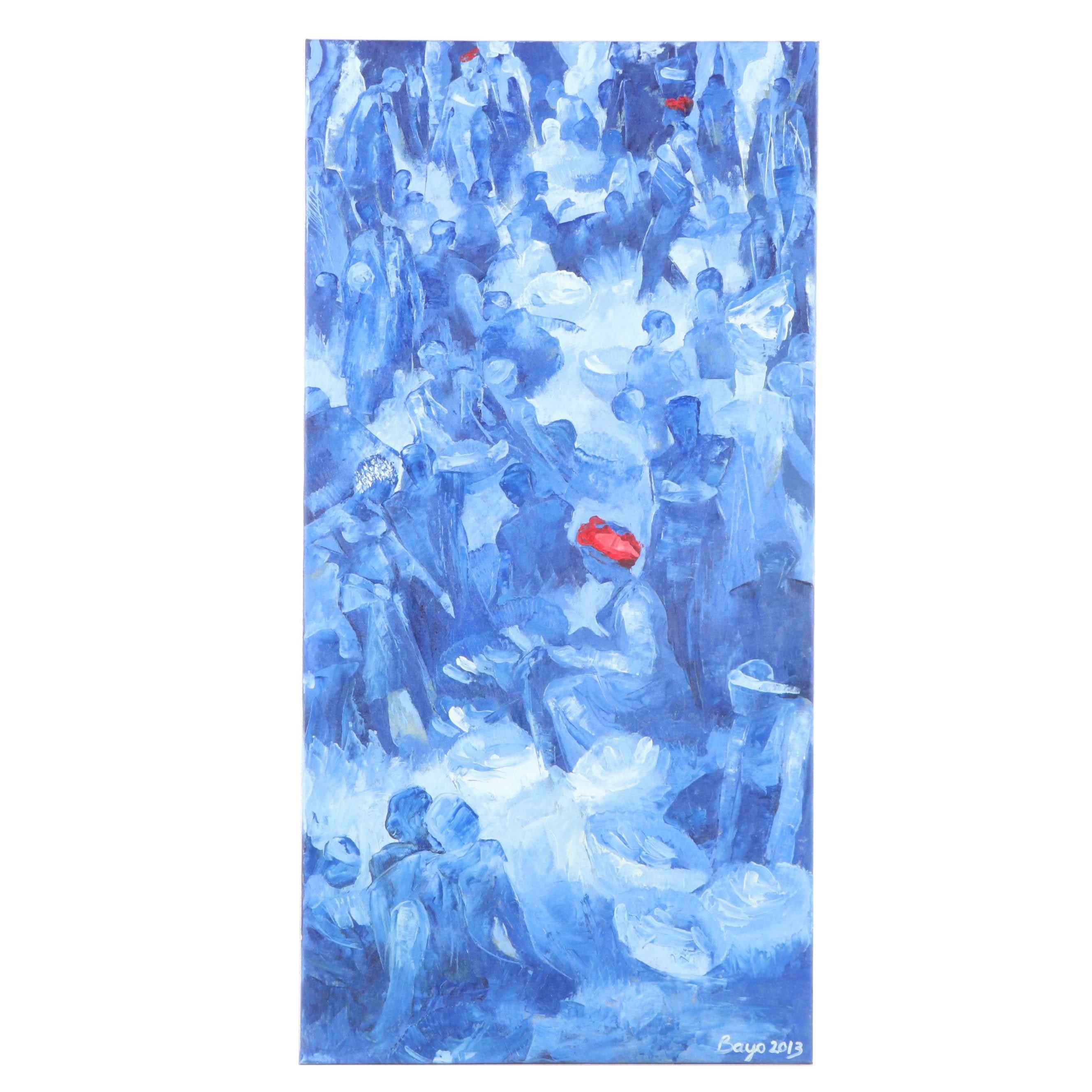 "Bayo Iribhogbe Oil Painting ""Market Scene"""