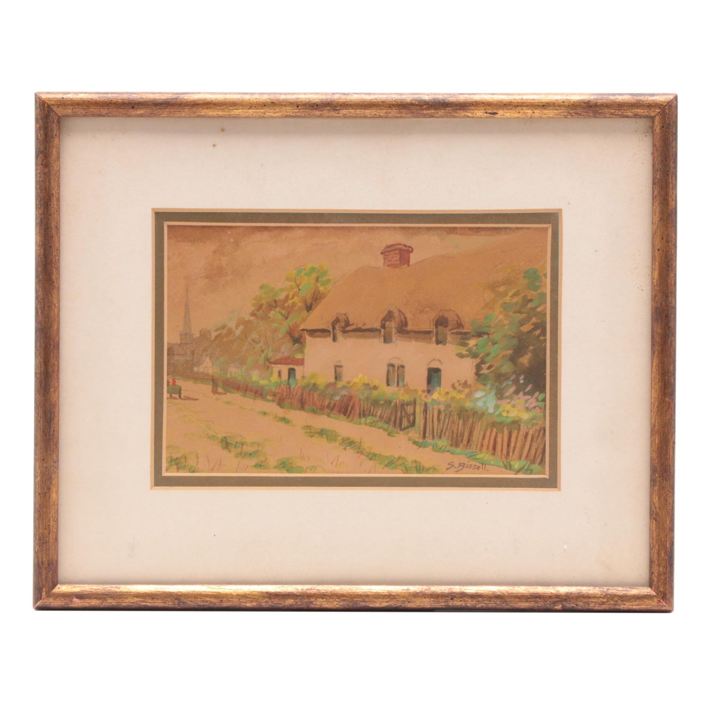 S. Bissell Watercolor Painting of English Cottage