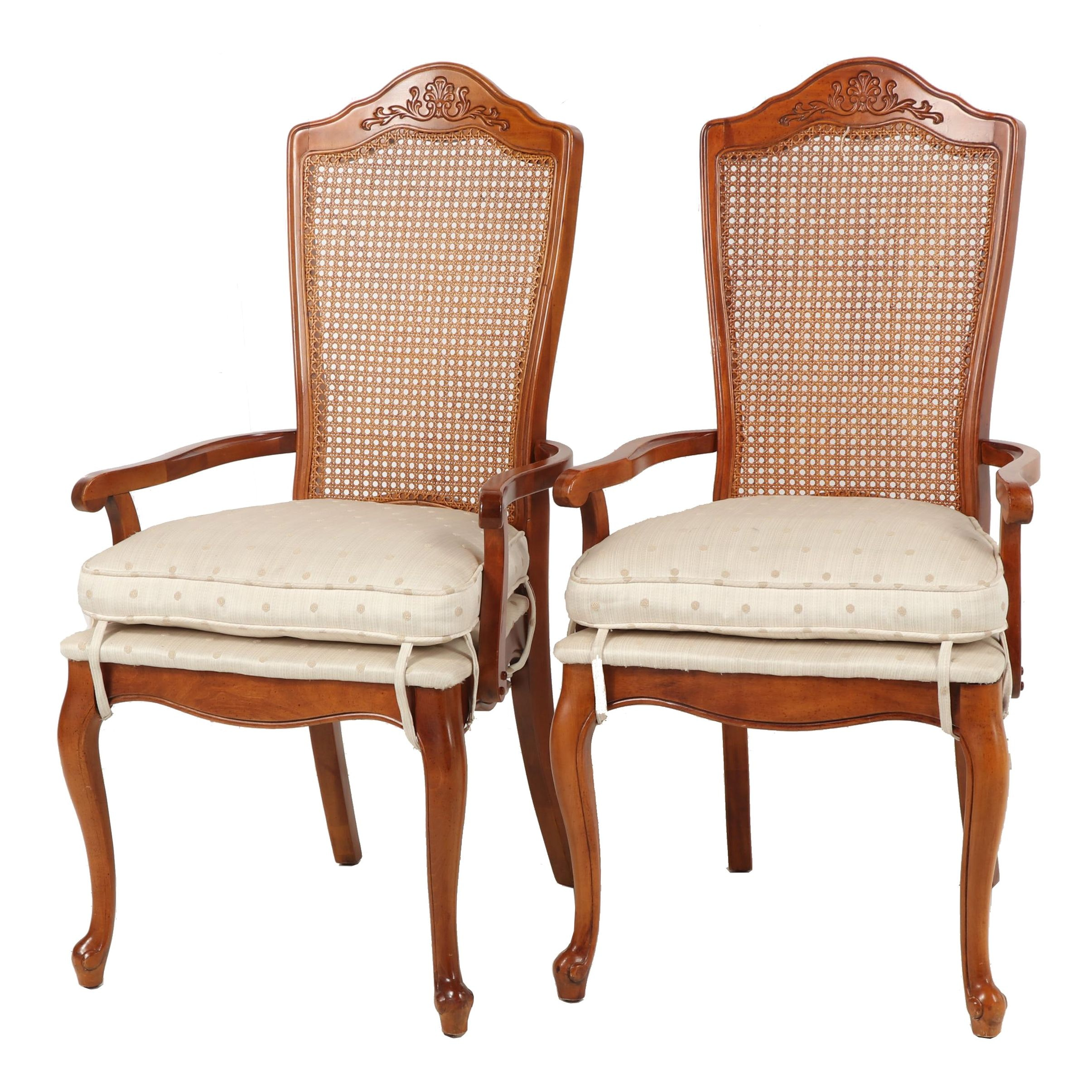 Queen Anne-Style Cane Back Armchairs