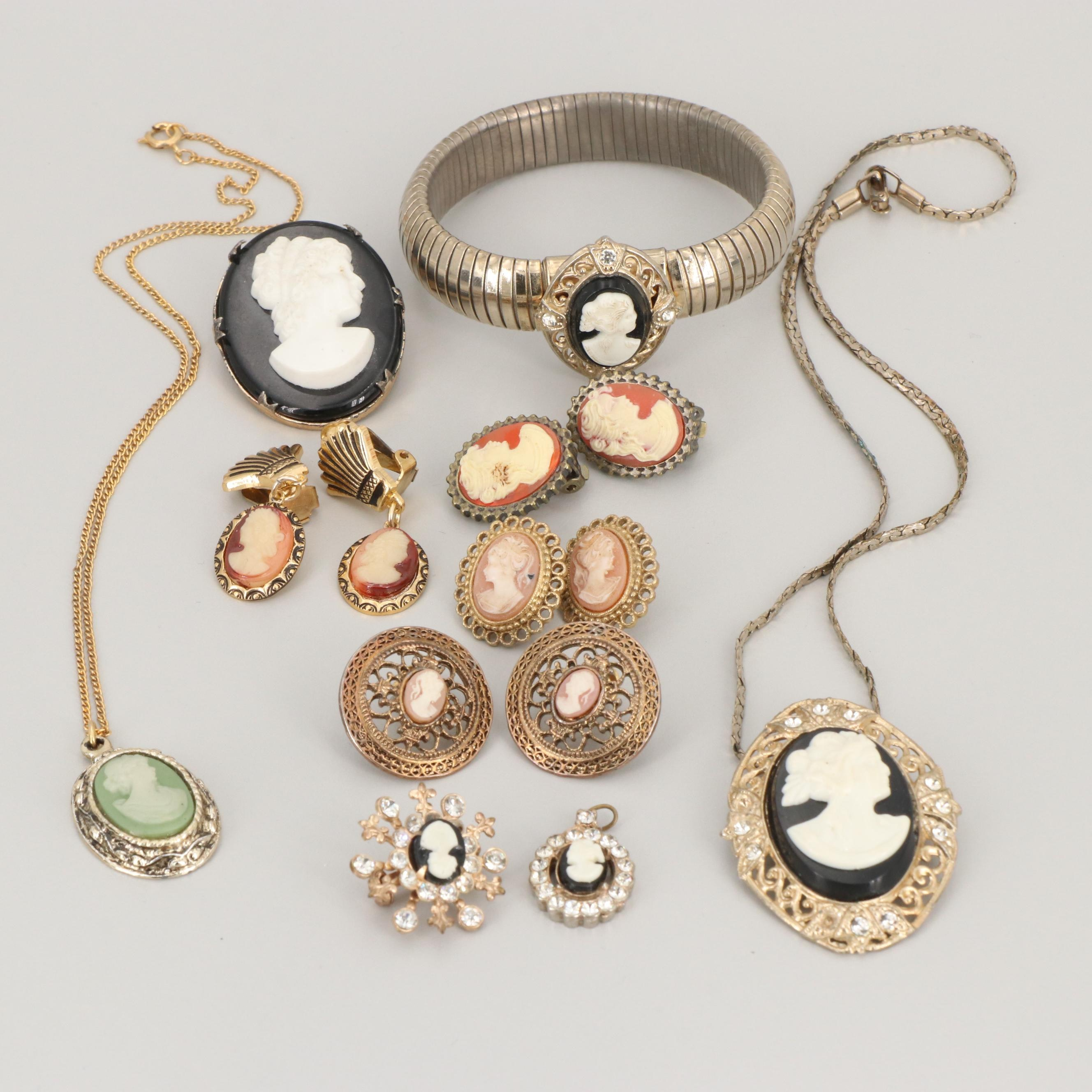 Silver Gold Tone Foilback and Resin Cameo Jewelry Including a Sterling Brooch