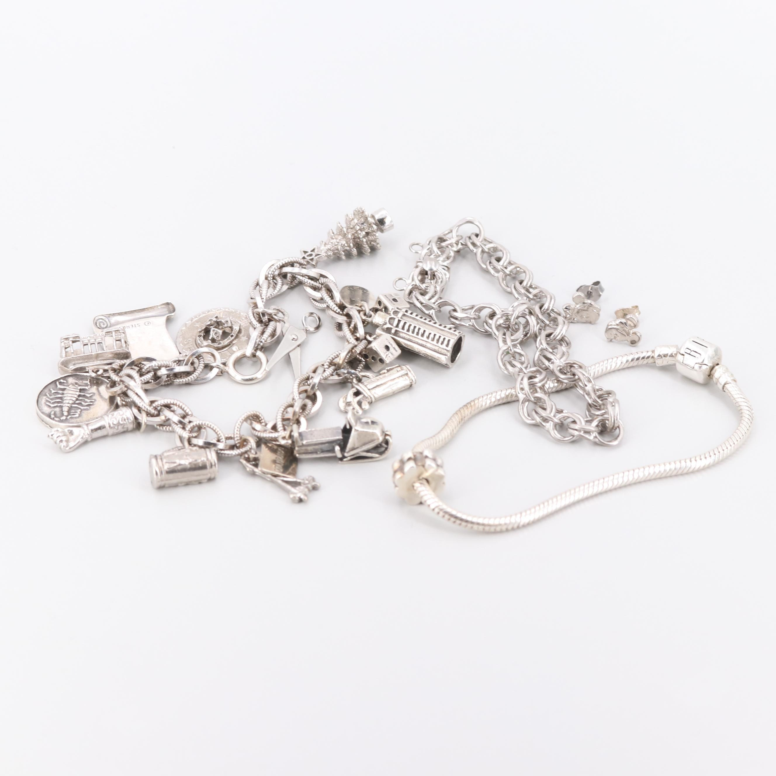 Sterling Silver and Silver Tone Bracelets Including Disney Stud Earrings