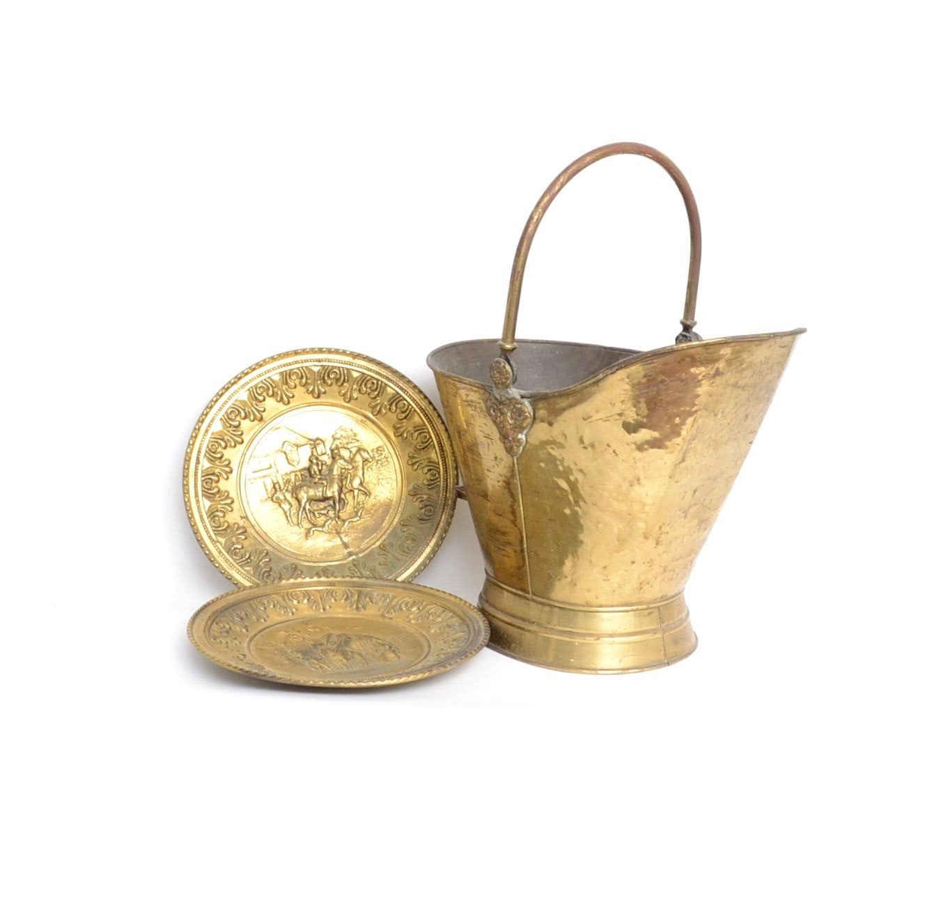 Brass Scuttle Bucket and Pair of Moulded Plates