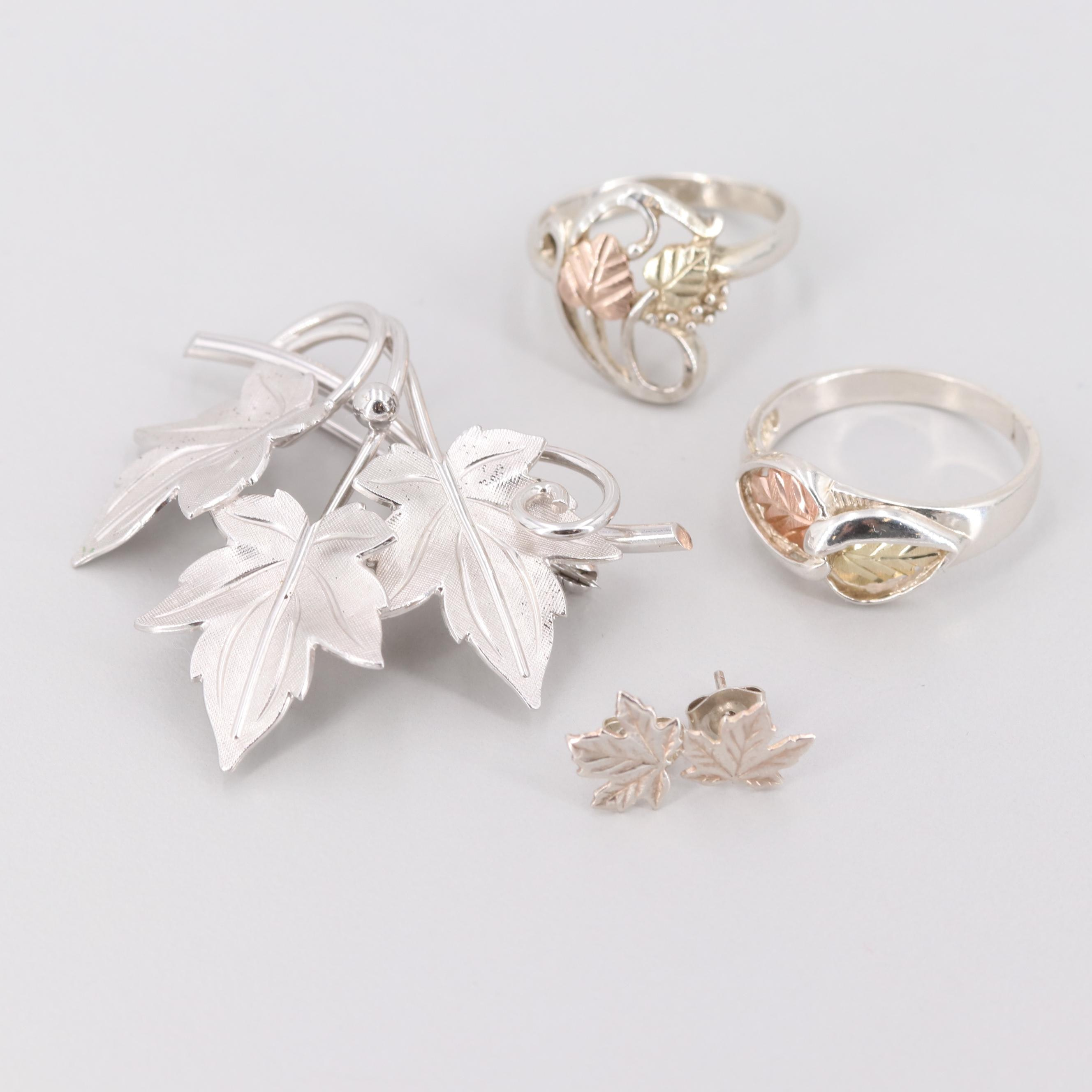 Sterling Silver Plant Motif Brooch, Earrings and Ring with 12K Gold Accents