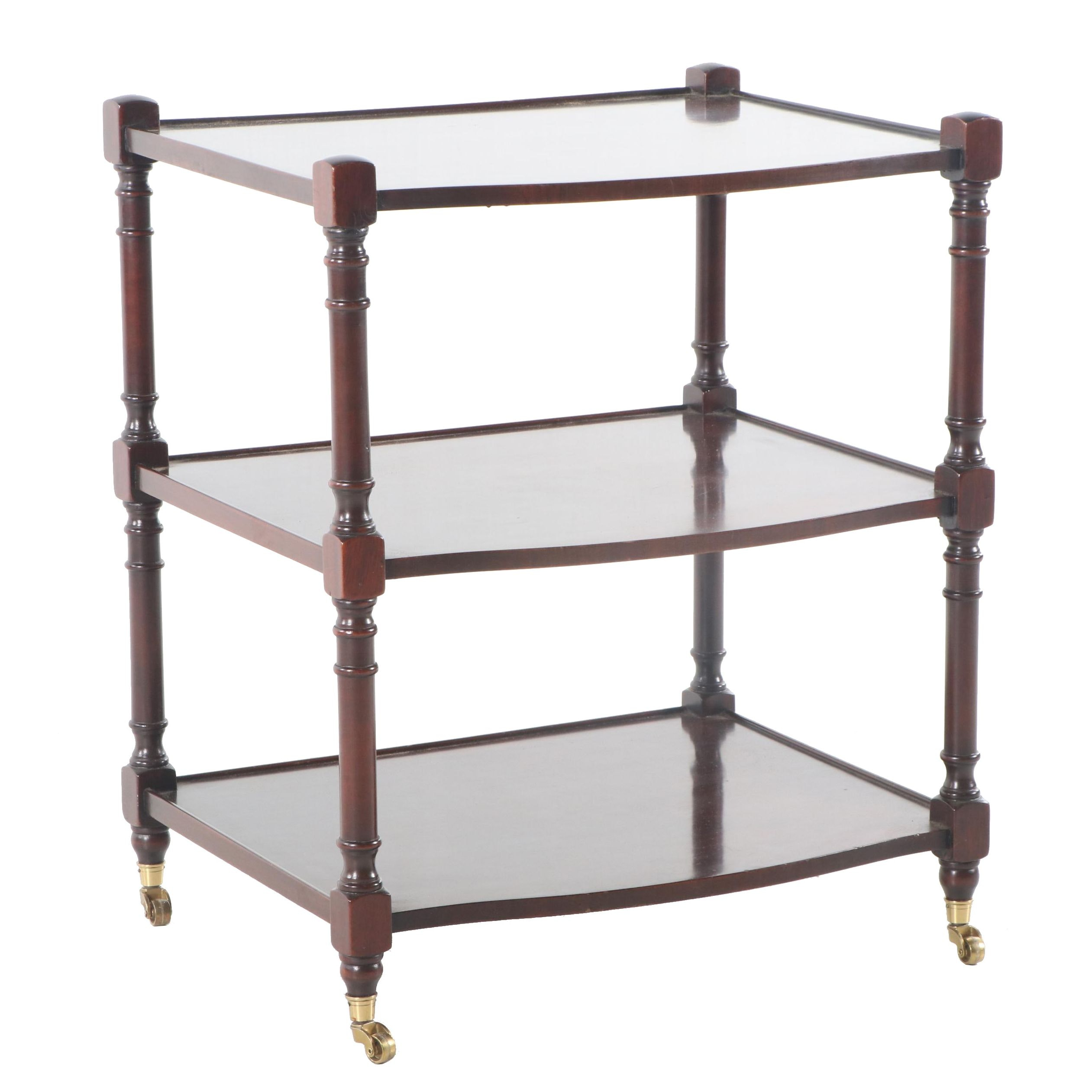 Mahogany Three-Tier Accent Table on Casters, 20th Century