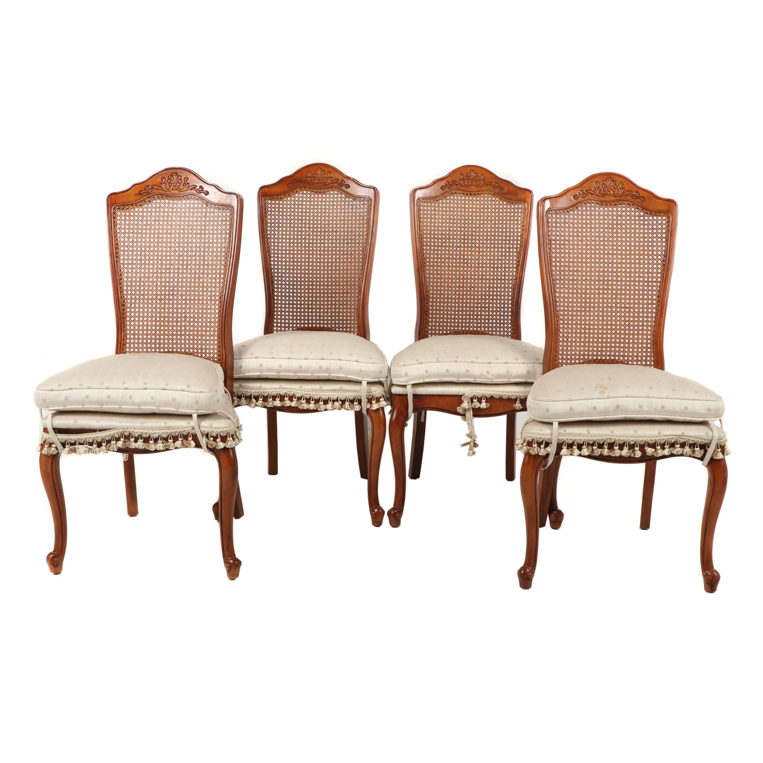 Rococo Style Wooden Cane Back Side Chairs, Contemporary