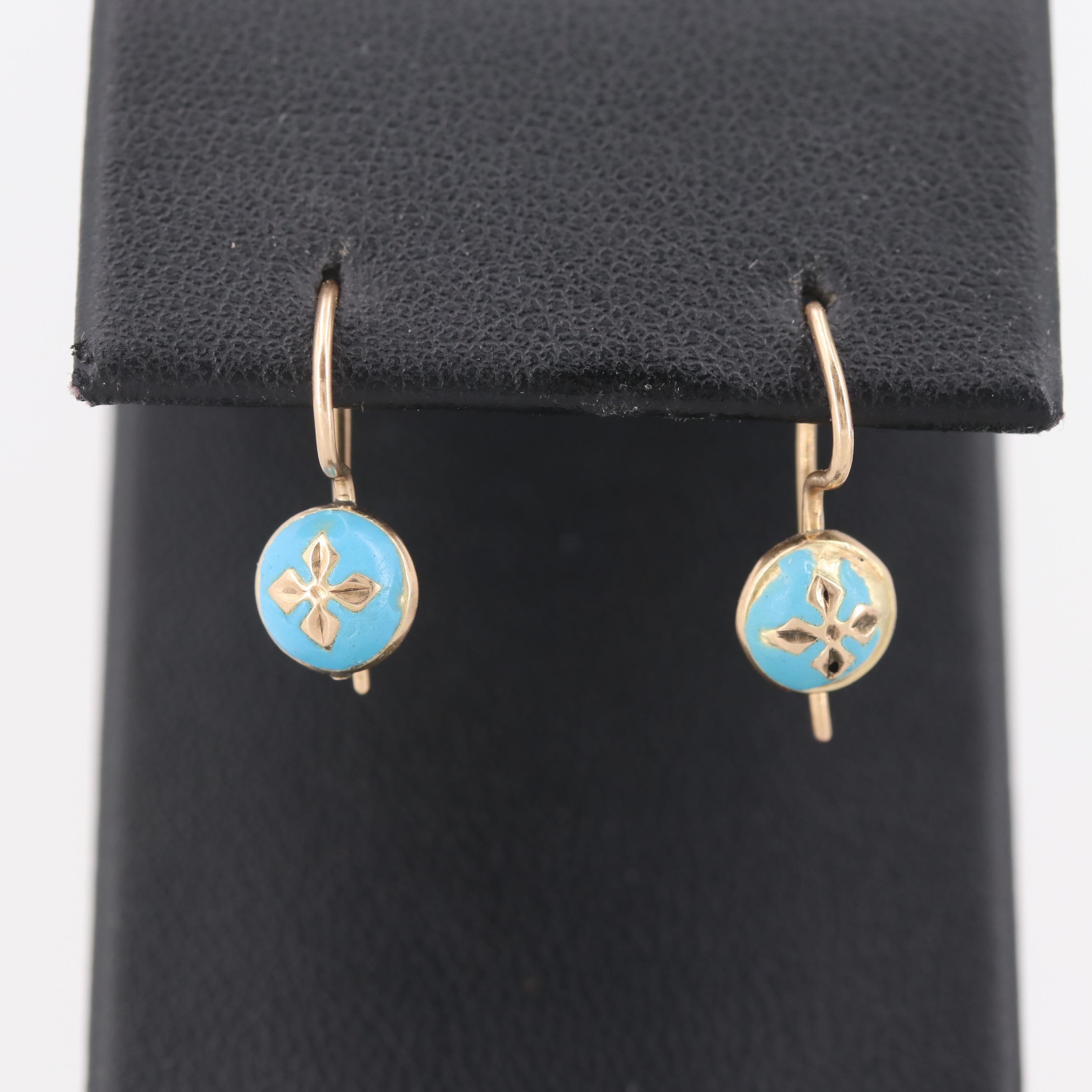 Circa 1910 14K Yellow Gold Enamel Drop Earrings