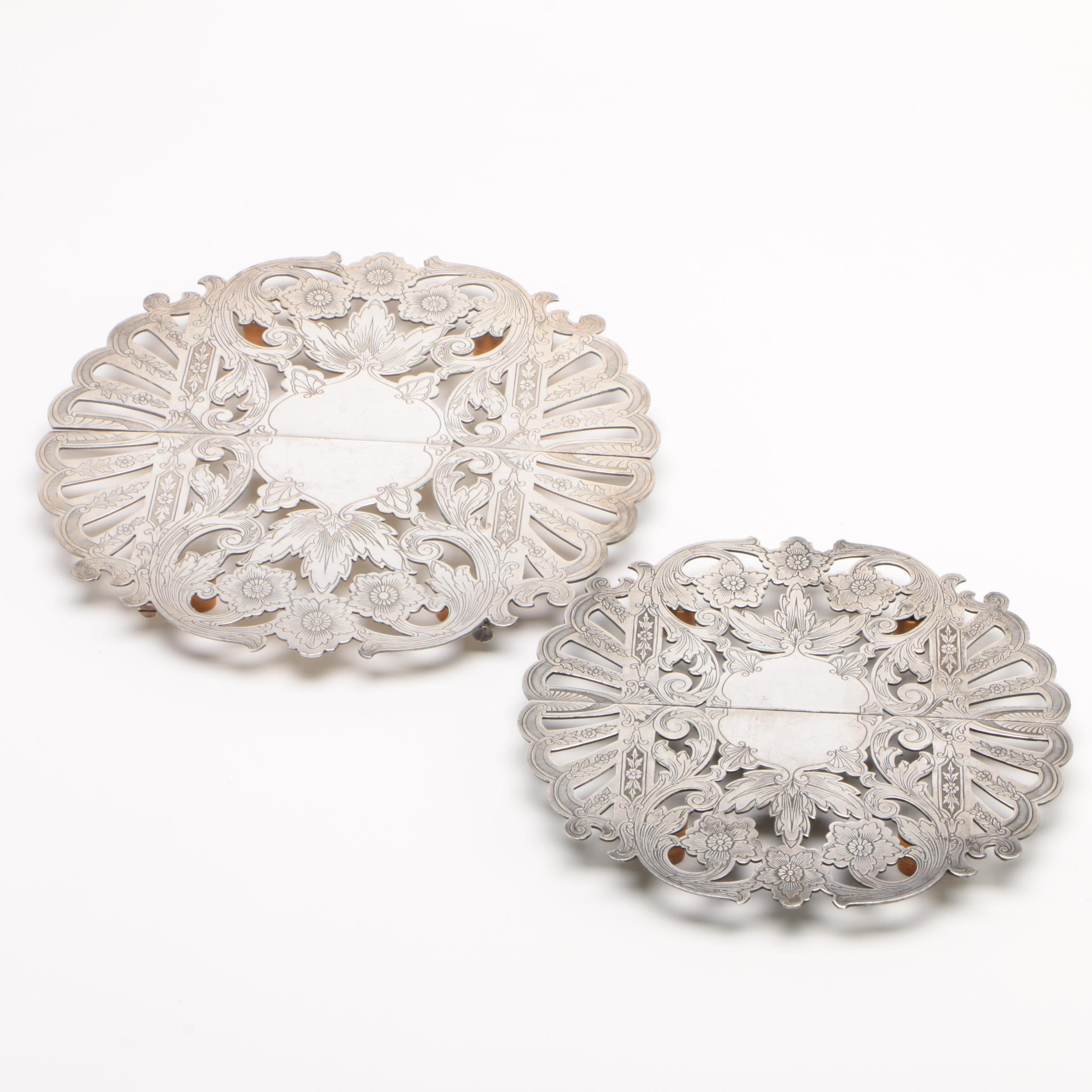 Wallace Chased Silver Plate Expandable Trivets, Early 20th Century