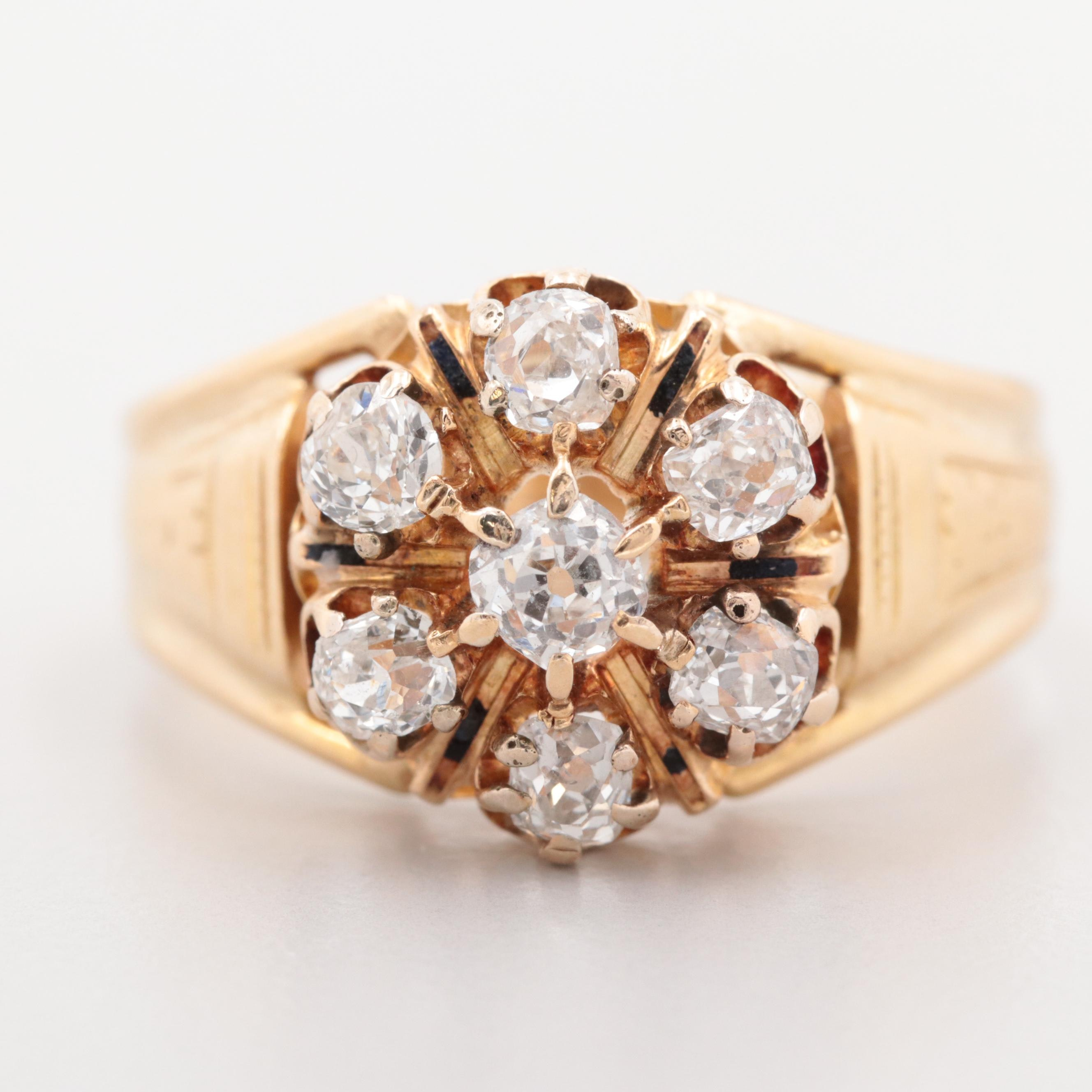 18K Yellow Gold 1.61 CTW Diamond and Vitreous Remnants Ring with Rose Accents