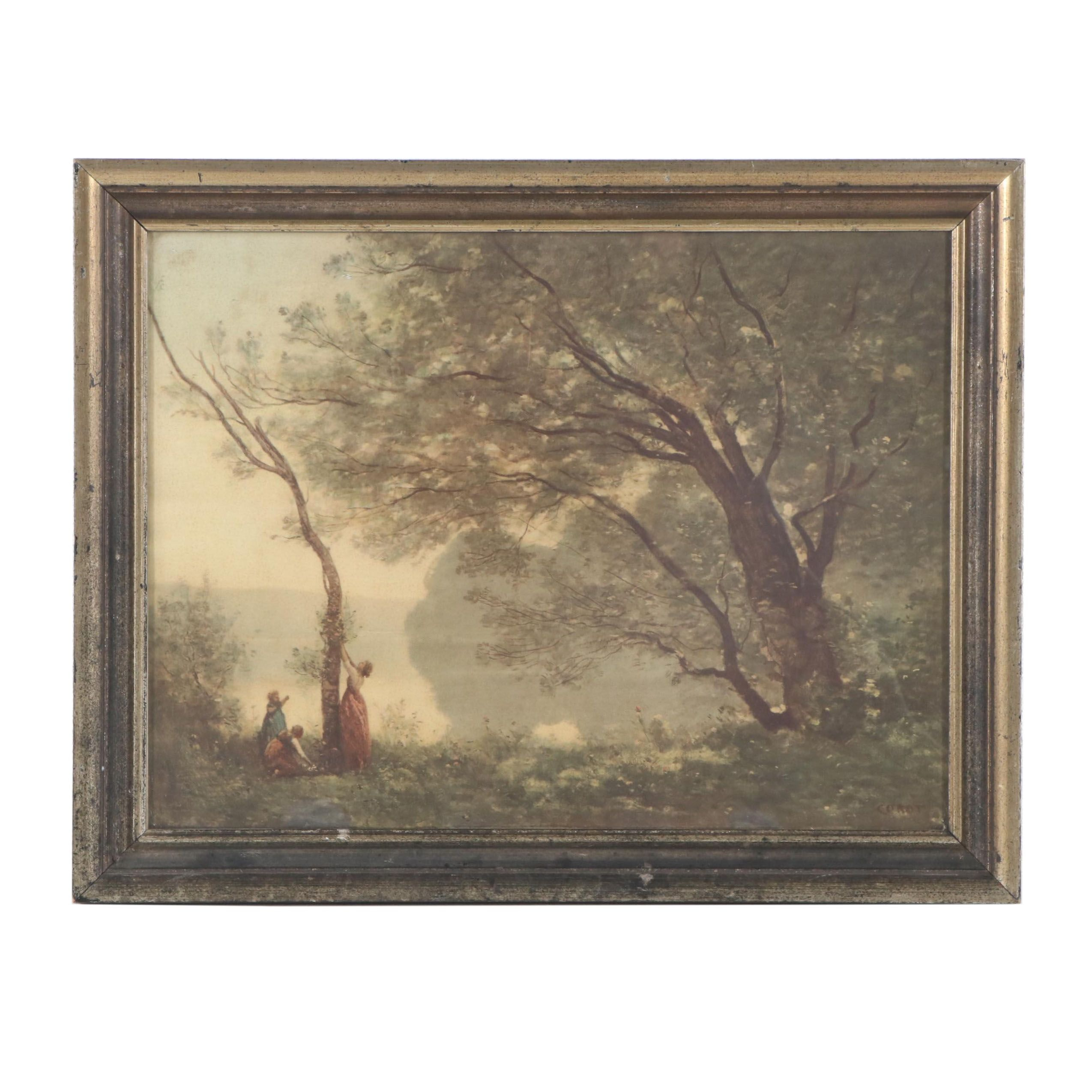 "Offset Lithograph after Jean-Baptiste-Camille Corot ""Paysage"""