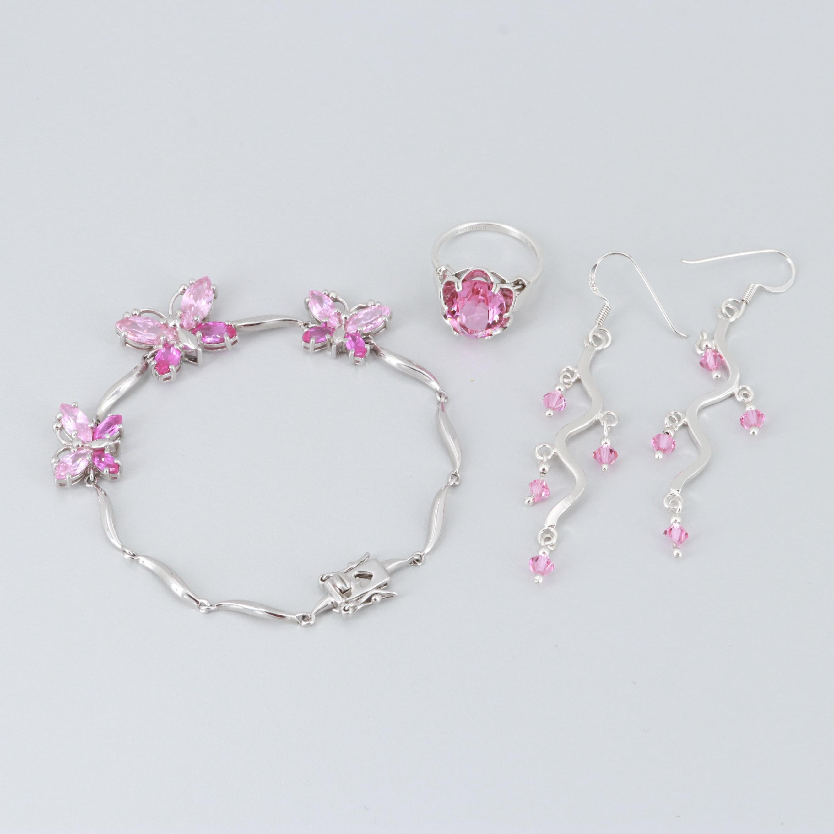 Sterling Silver Cubic Zirconia Bracelet, Earrings, and Ring
