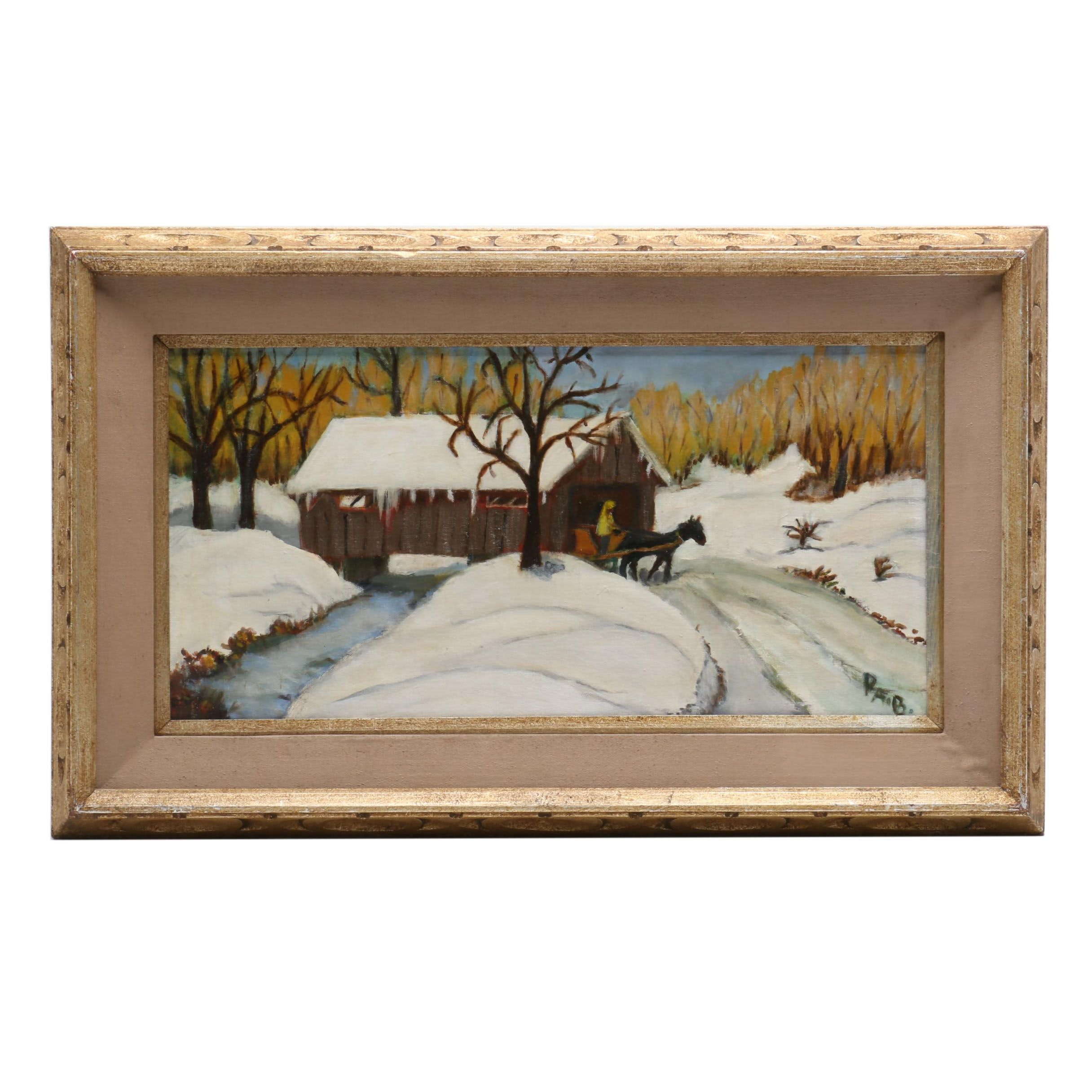"Naive Style Oil Painting ""Covered Bridge"""