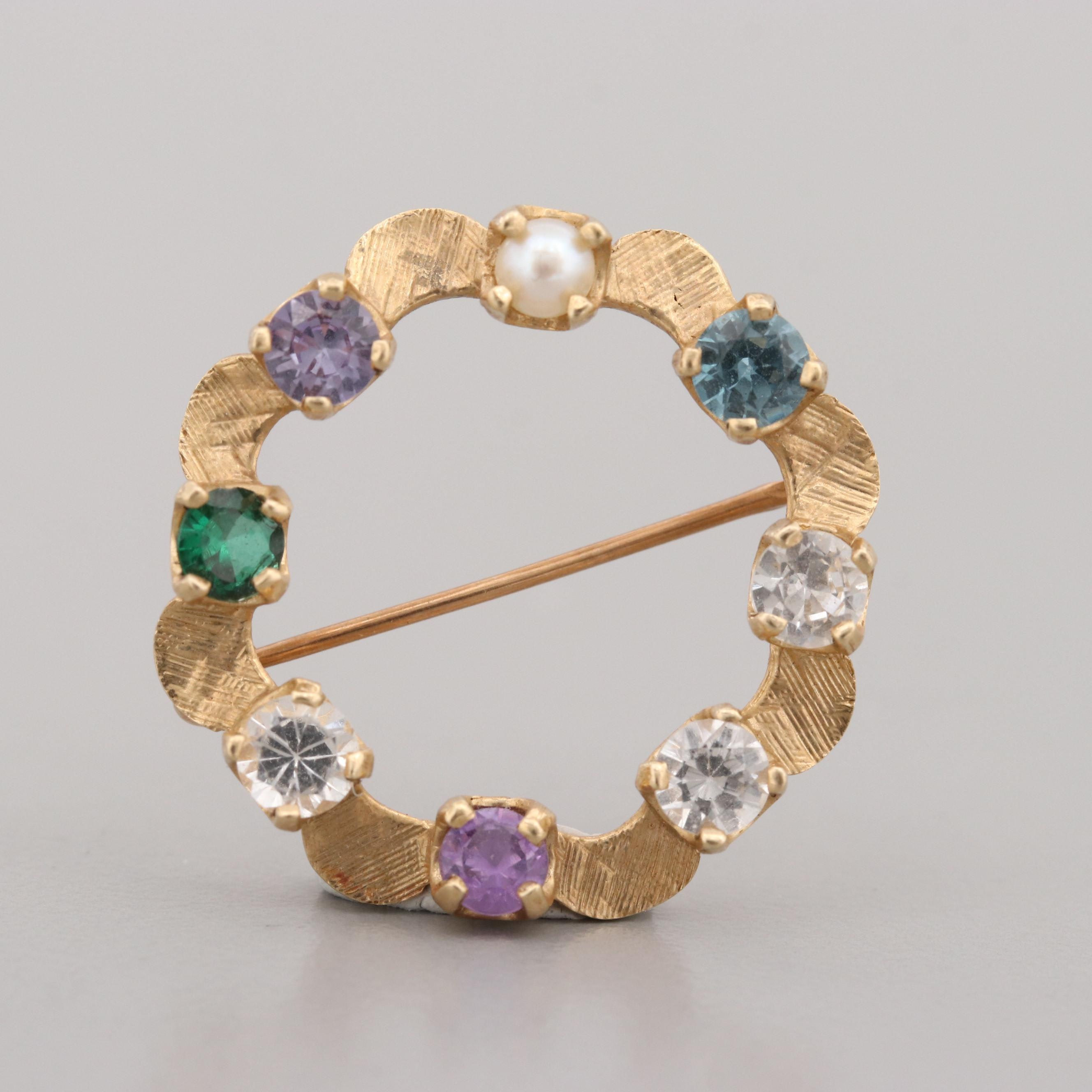 14K Yellow Gold Cultured Pearl and Spinel Brooch